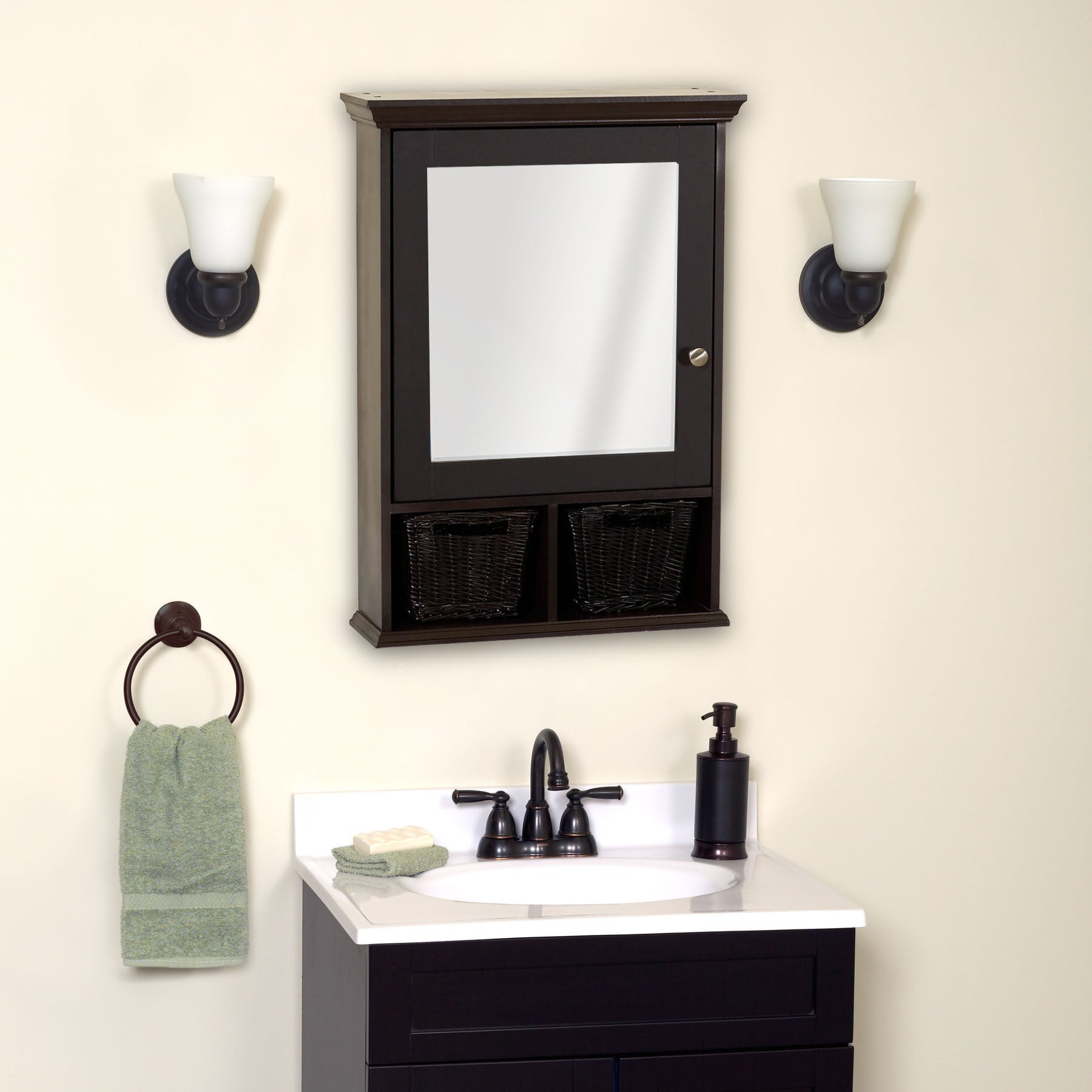 Shop Zenith Espresso Medicine Cabinet With 2 Wicker Baskets   Free Shipping  Today   Overstock.com   9726412