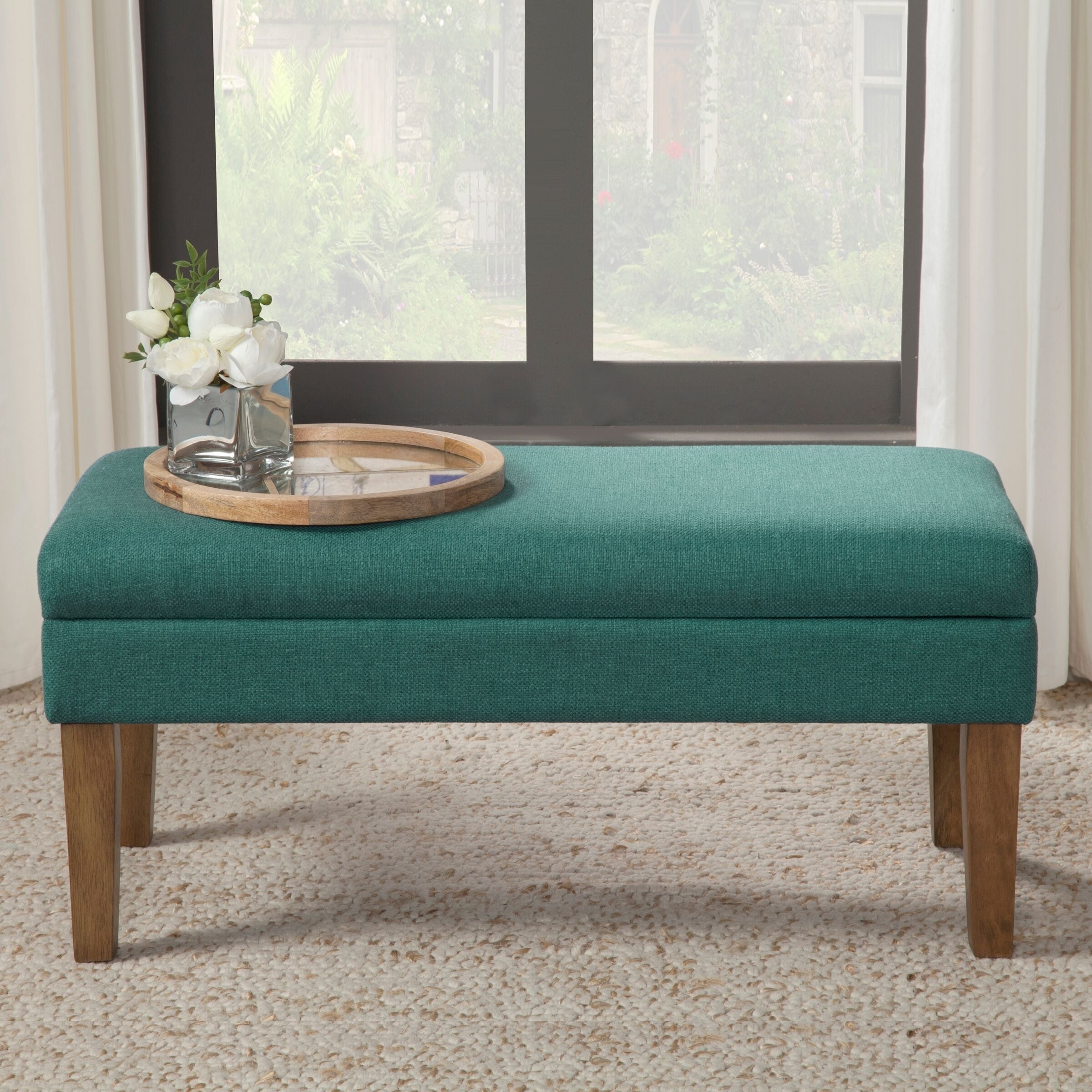 Ordinaire Shop HomePop Teal Chunky Textured Decorative Storage Bench   On Sale   Free  Shipping Today   Overstock   9728739
