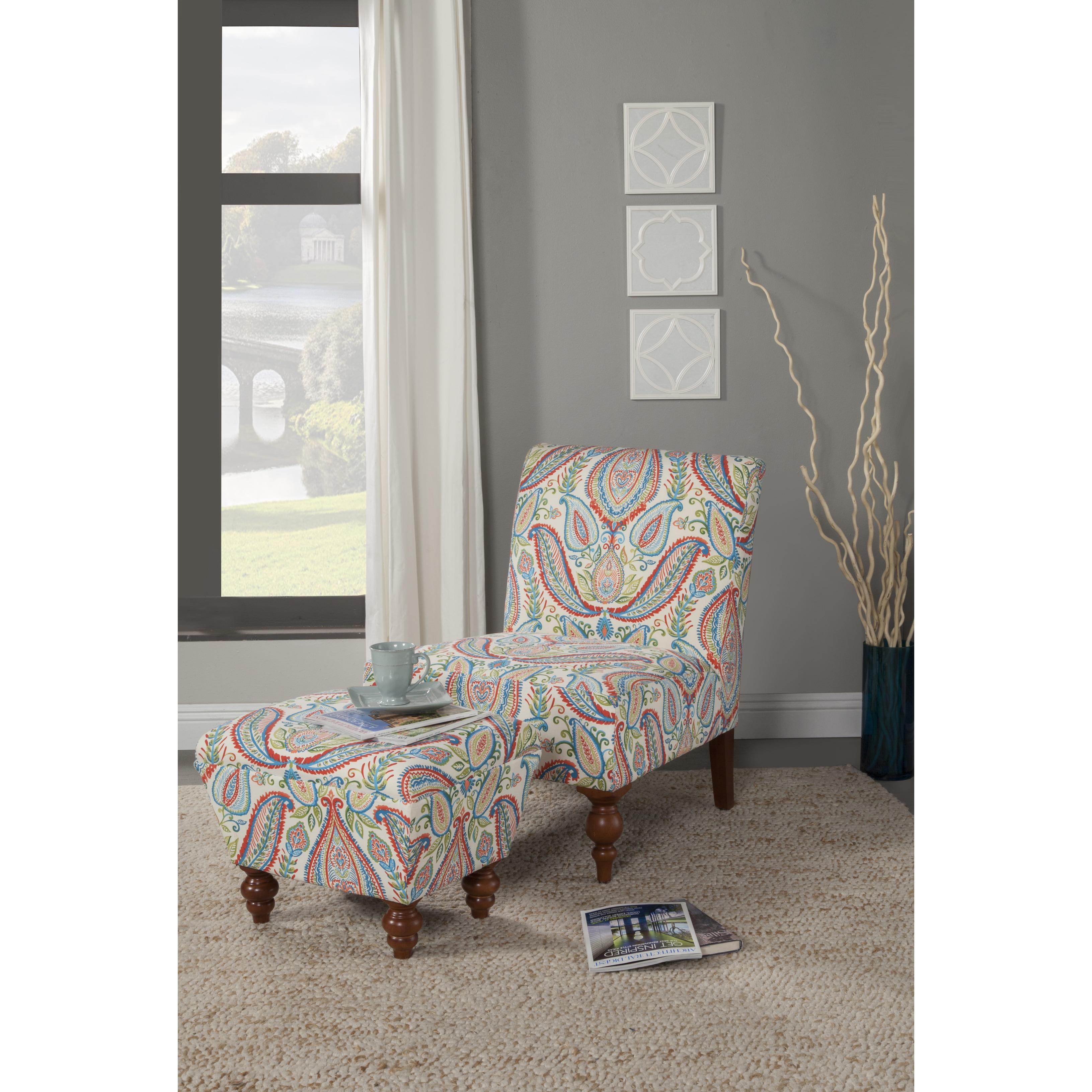 Shop HomePop Coral And Turquoise Paisley Accent Chair And Ottoman   Free  Shipping Today   Overstock.com   9728761
