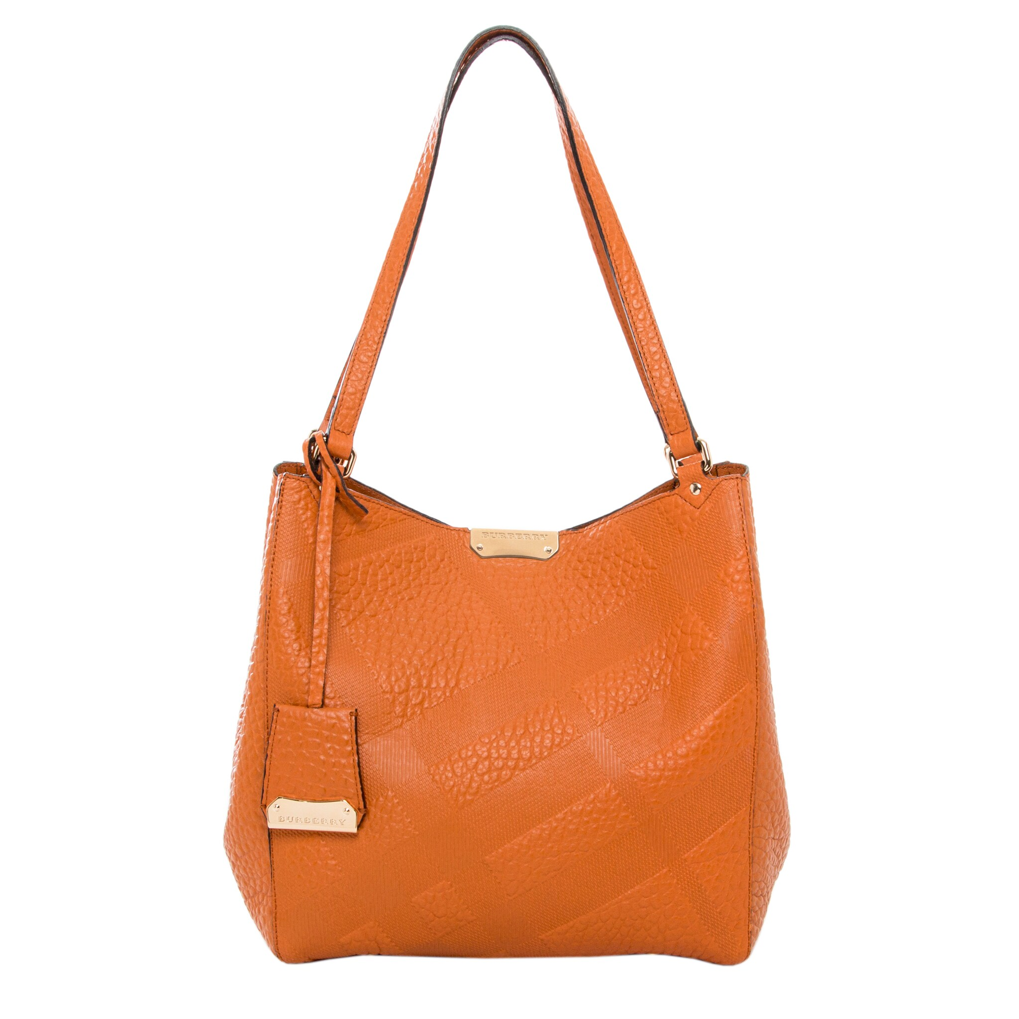 8fdcb90a6785 Shop Burberry Small  Canter  Burnt Orange Embossed Leather Tote - Free  Shipping Today - Overstock.com - 9728799