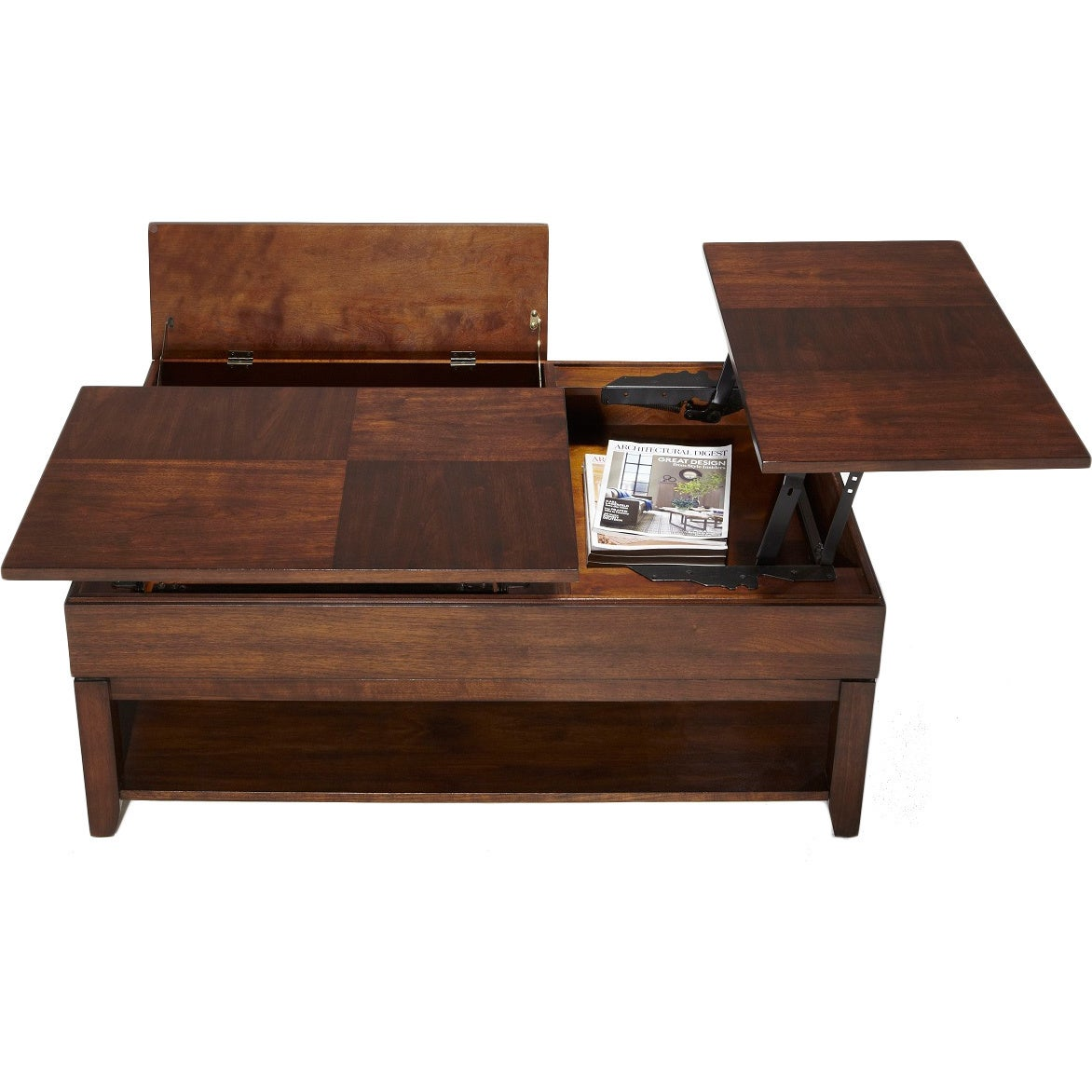 Shop Daytona Regal Walnut Double Lifttop Cocktail Table Free - Double lift top cocktail table
