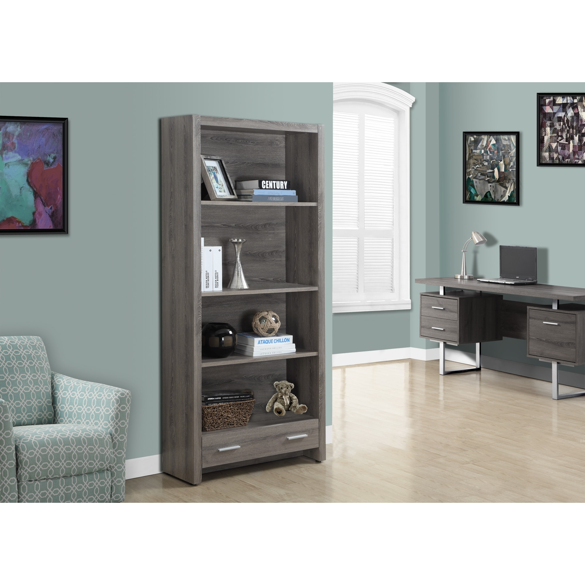 Dark Taupe Wood 71-inch 4-tier bookshelf - Free Shipping Today -  Overstock.com - 16910407