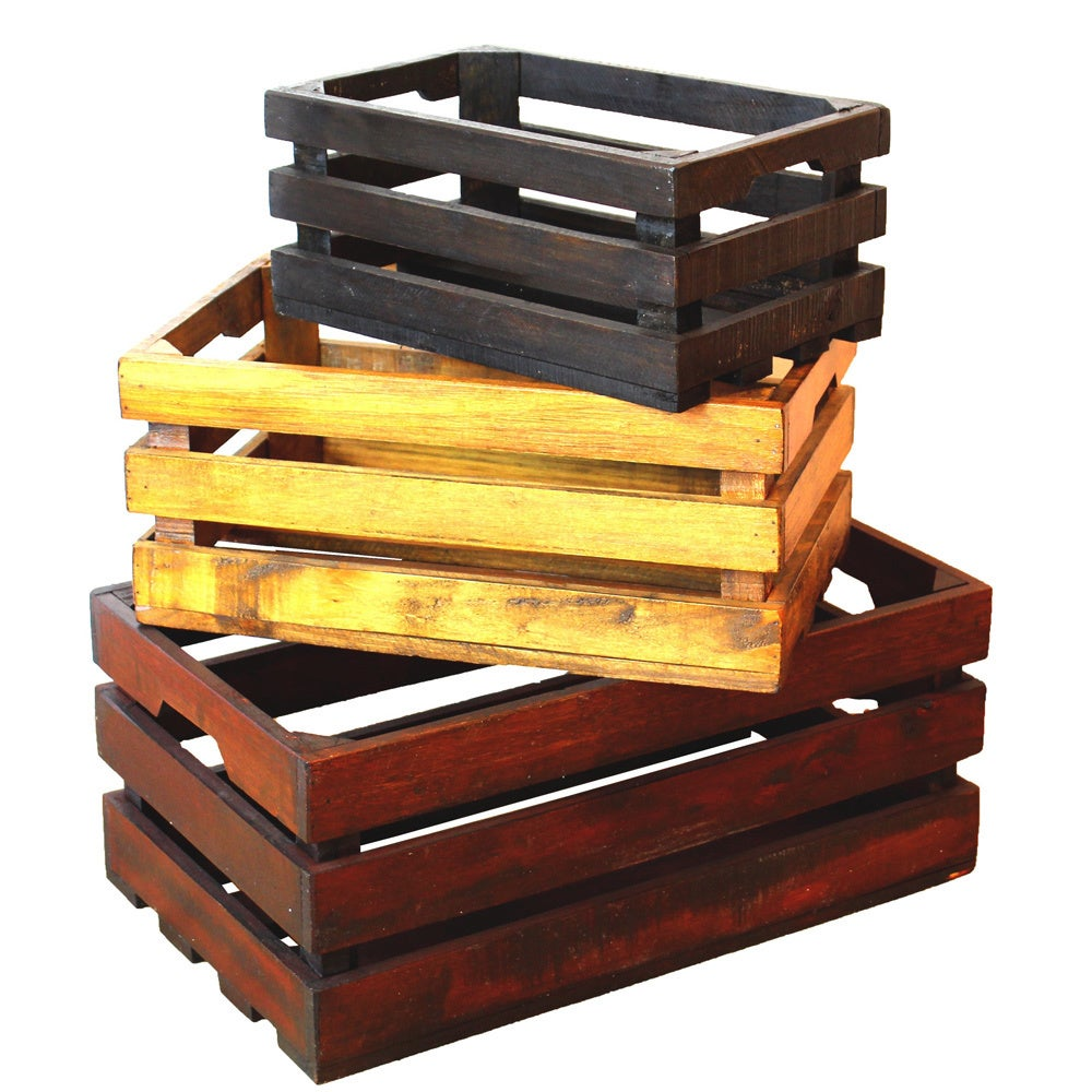 Shop Decorative Old Colored Wooden Crates (Set of 3) - Free Shipping ...