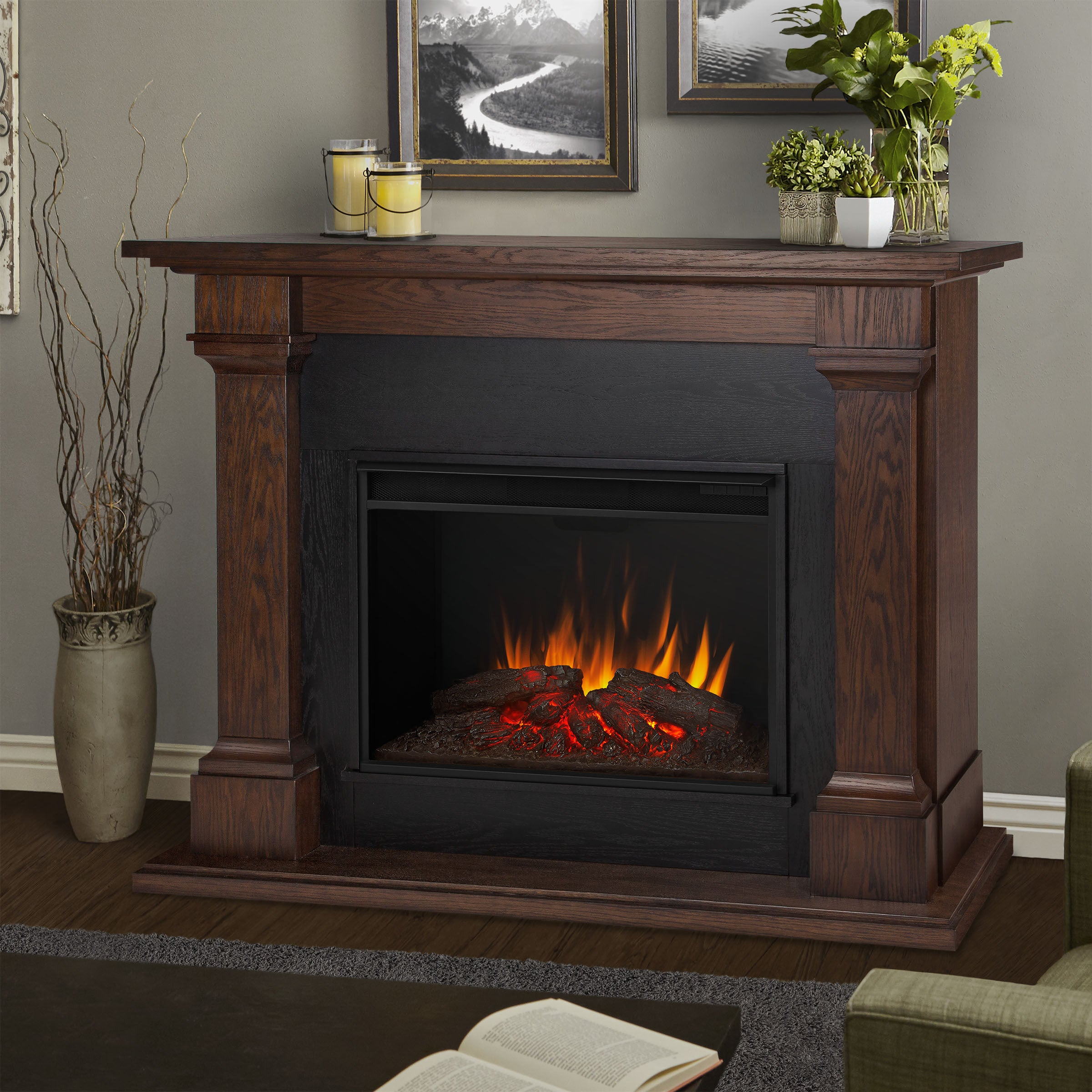fireplace dark mantle space decor ip flame large heater walmart com chocolate electric with