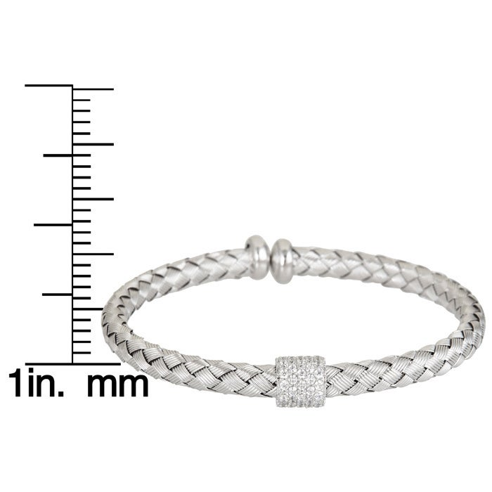 Precious Metal Without Stones Fine Bracelets Sterling Silver Tri-tone Rose Gold Yellow White Bracelet Woven Basketweave Italy