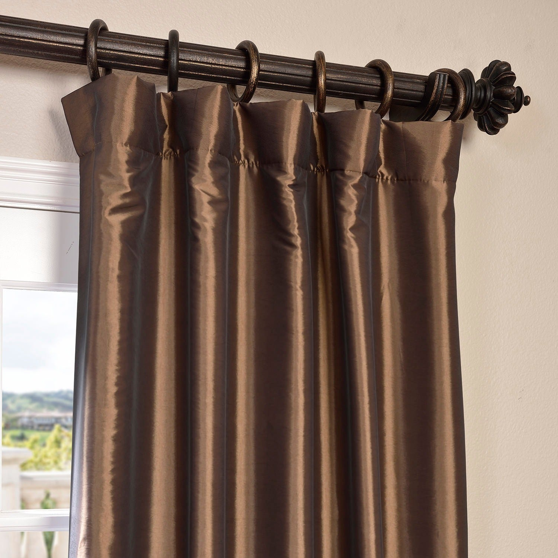 Shop Exclusive Fabrics Faux Silk Taffeta 120 Inch Blackout Curtain Panel