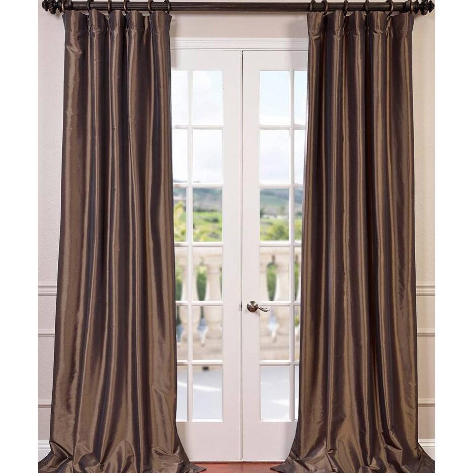 Exclusive Fabrics Faux Silk Taffeta 96 Inch Blackout Curtain Panel 50 X