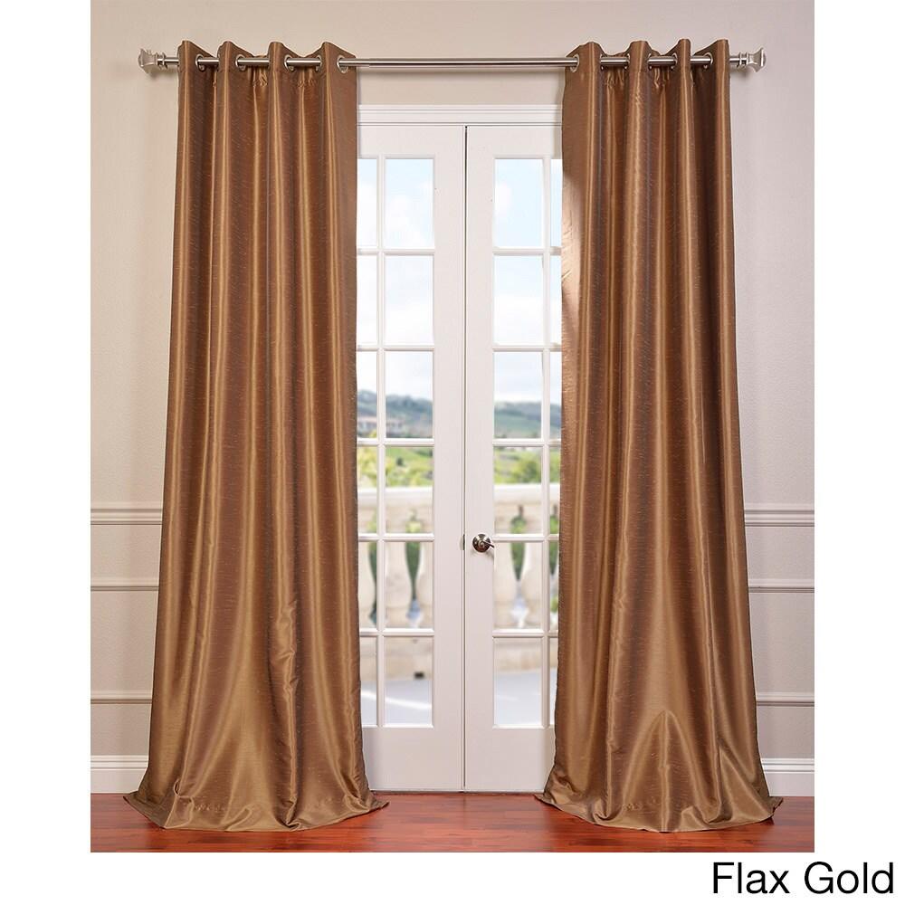Exclusive Fabrics Textured Dupioni Faux Silk Grommet 84 Inch Blackout Curtain Panel 50 X