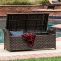 Wing Outdoor Wicker Storage Bench by Christopher Knight Home