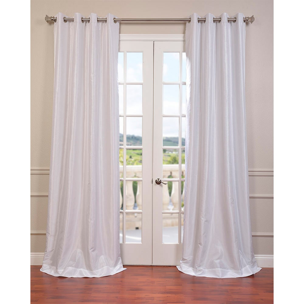 Exclusive Fabrics Textured Dupioni Faux Silk 96 Inch Blackout Grommet Curtain Panel