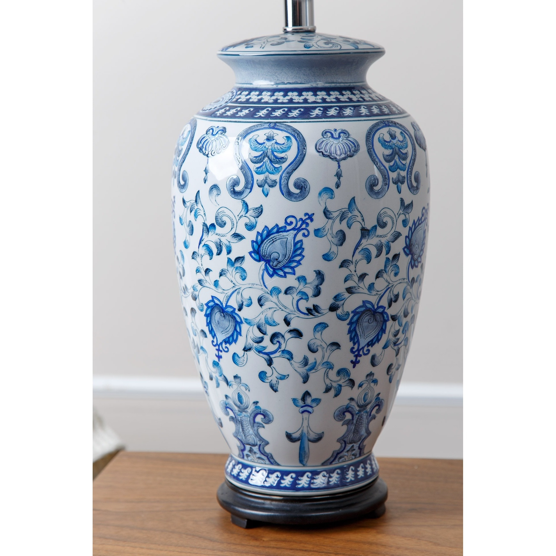 Shop Abbyson Hand-painted Asian Blue Table Lamp - On Sale - Free ...