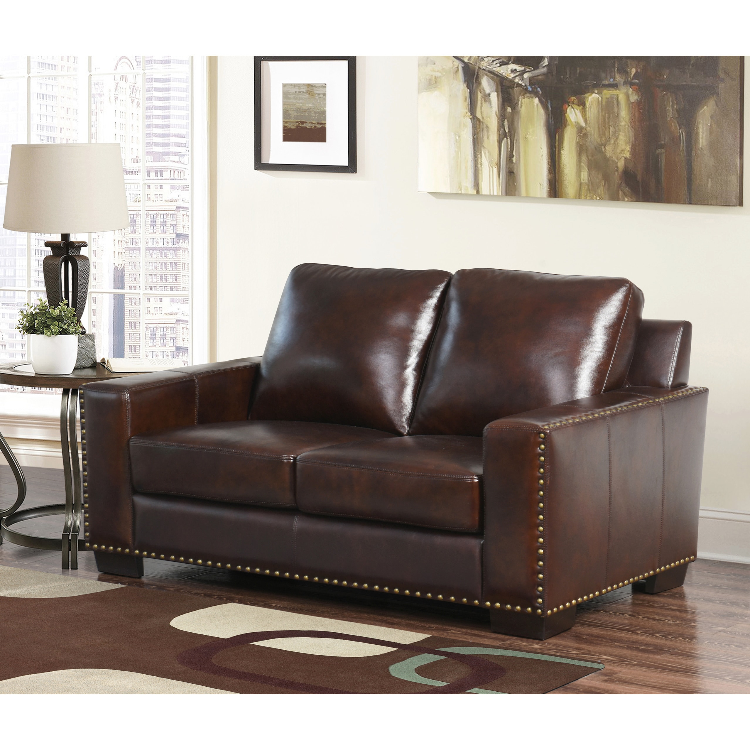 stg in gabe loveseat leather bonded century mid sofamania camel cam com products