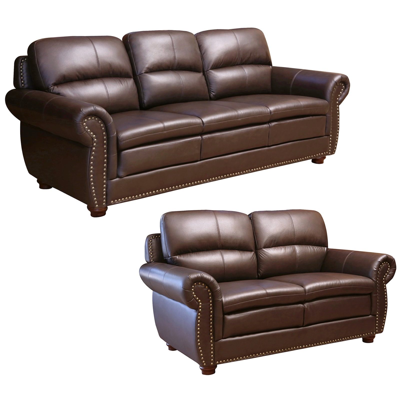 Shop Abbyson Laguna Top Grain Dark Brown Leather Sofa And Loveseat   On  Sale   Free Shipping Today   Overstock.com   9745805