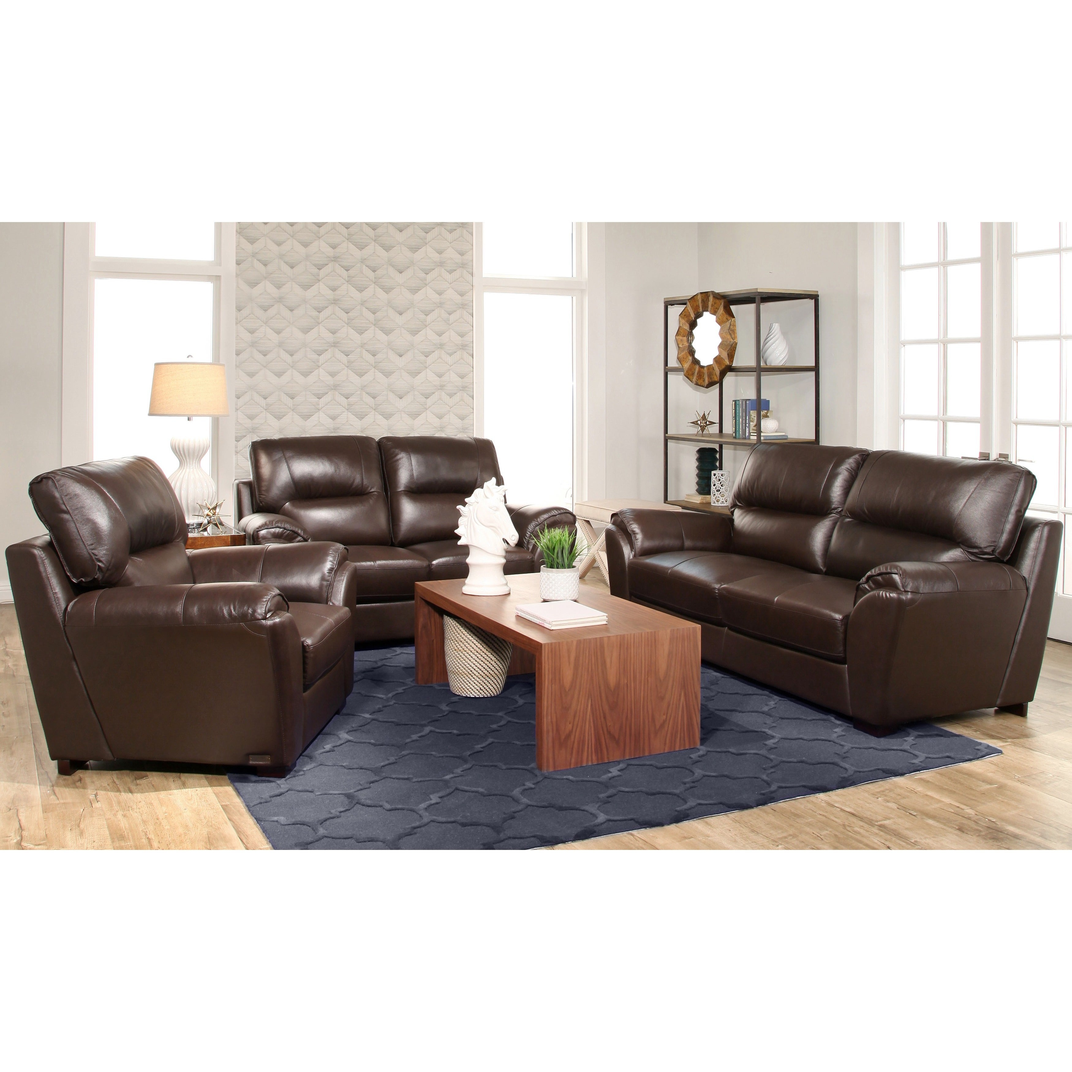 Abbyson Caprice 3 Piece Top Grain Leather Sofa Set Free Shipping  ~ Full Top Grain Leather Sofa