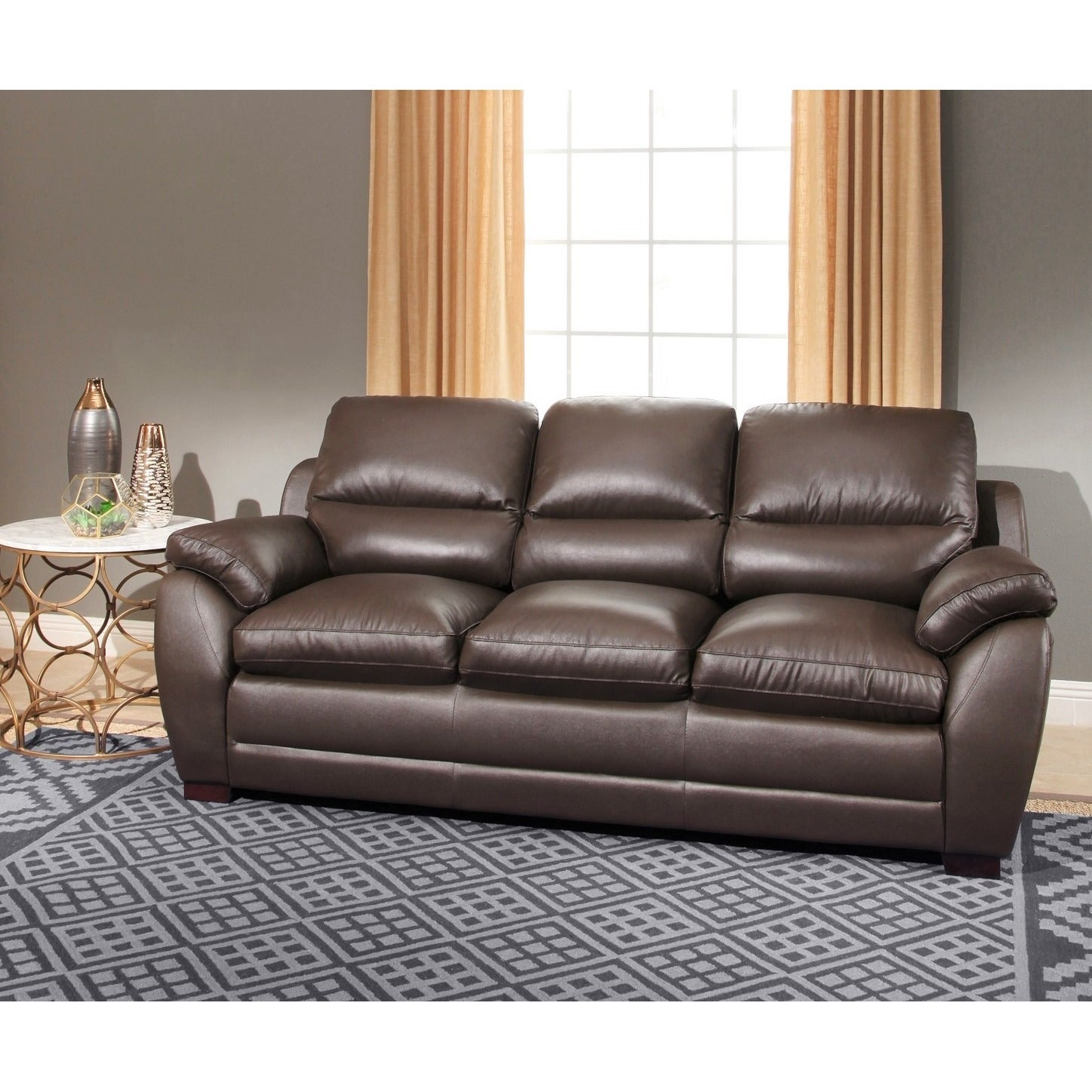 Abbyson Monarch 3-Piece Top Grain Leather Sofa Set - Free Shipping ...