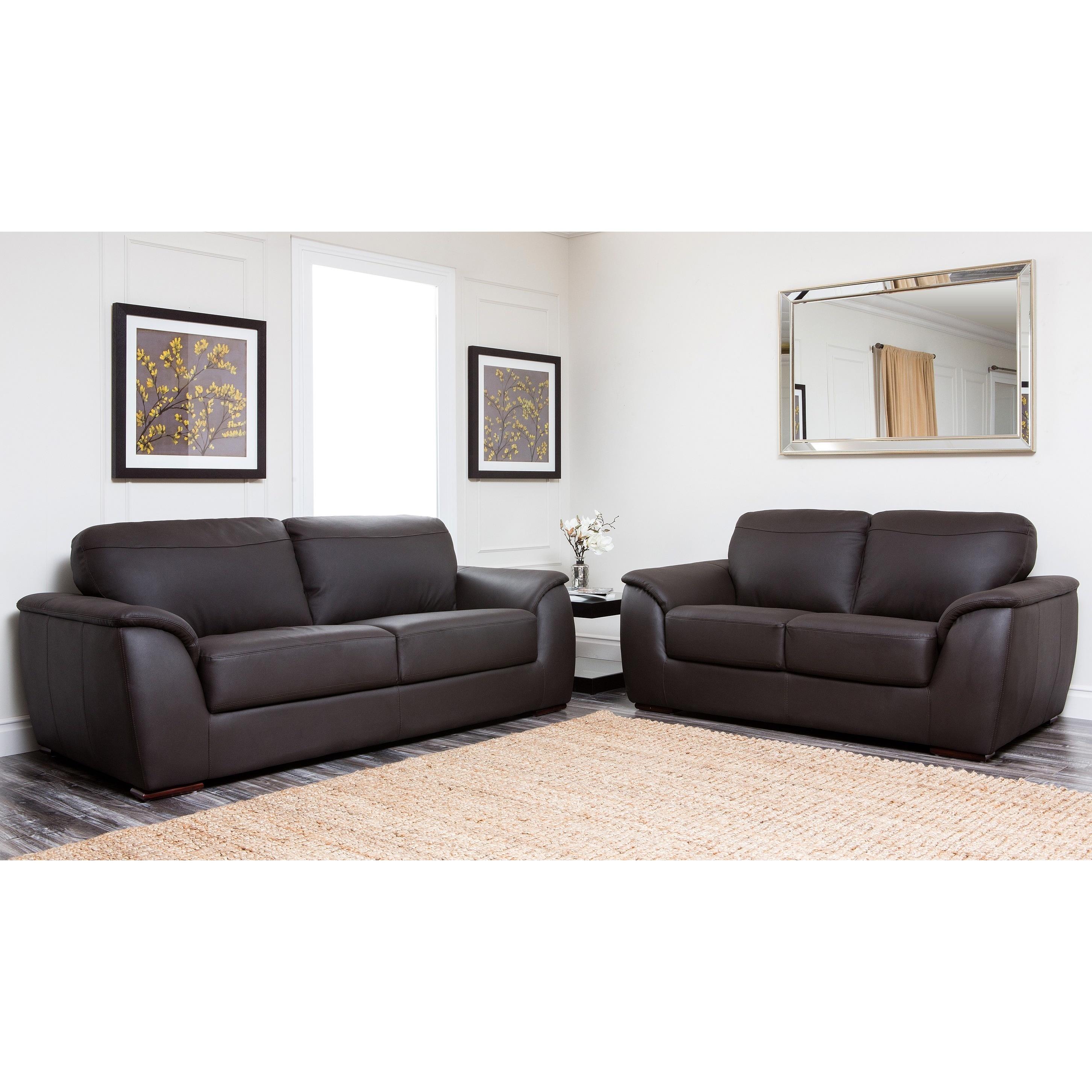 Abbyson Ashton Brown Top Grain Leather 2 Piece Living Room Set ...