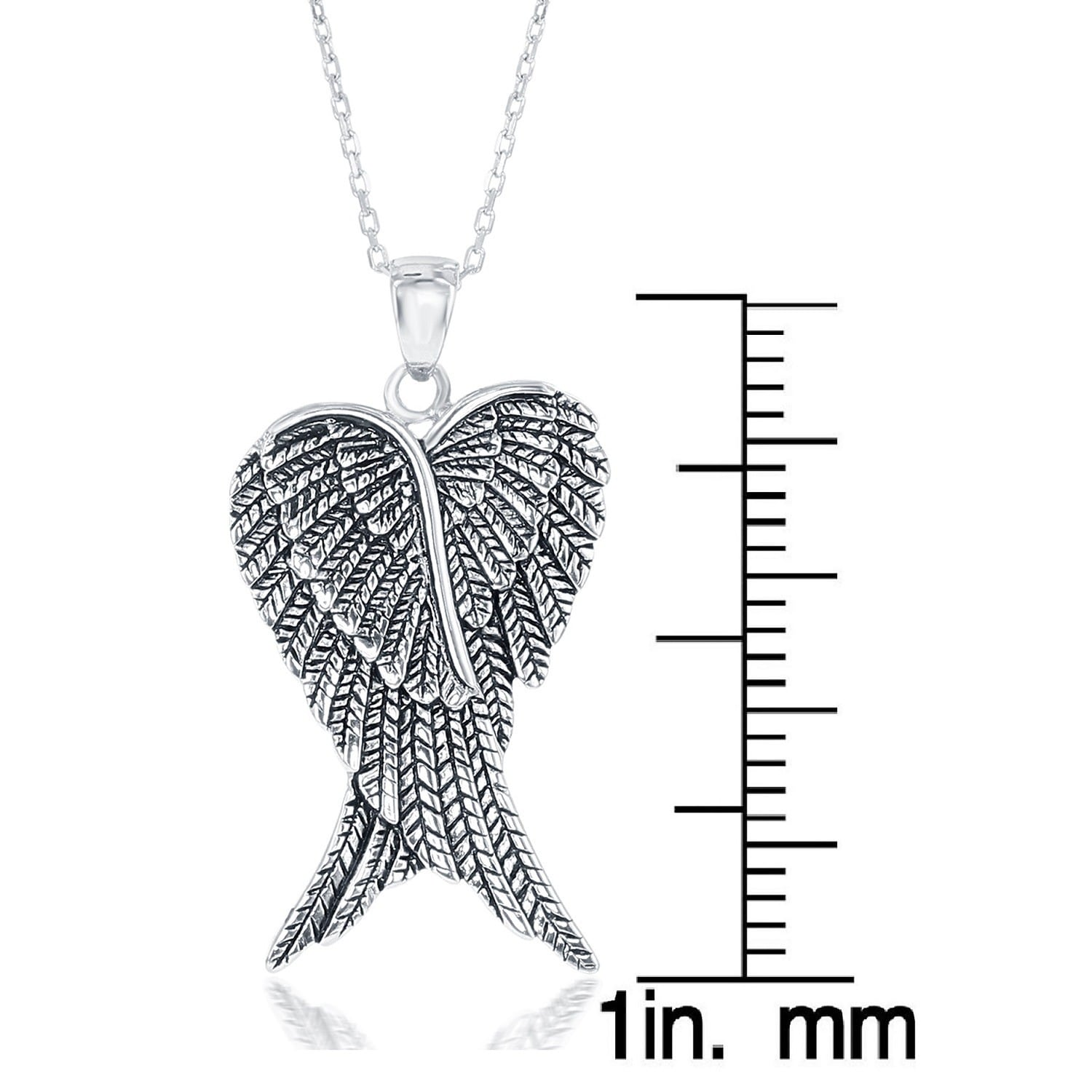 product la pendant free watches over shipping overstock sterling preciosa double wings shaped orders angel on heart silver jewelry