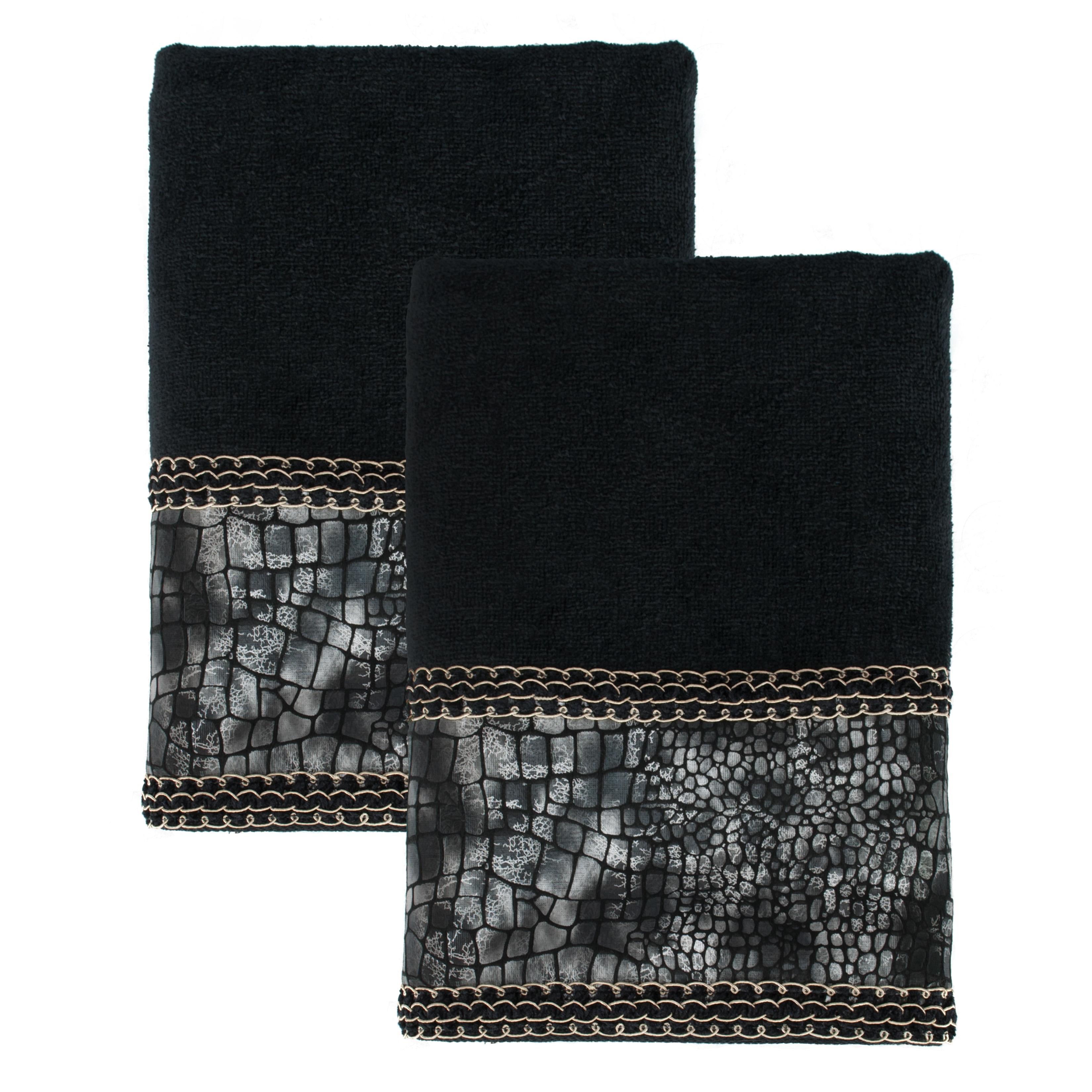 Shop Sherry Kline It S A Croc Black Decorative Bath Towel Set Of