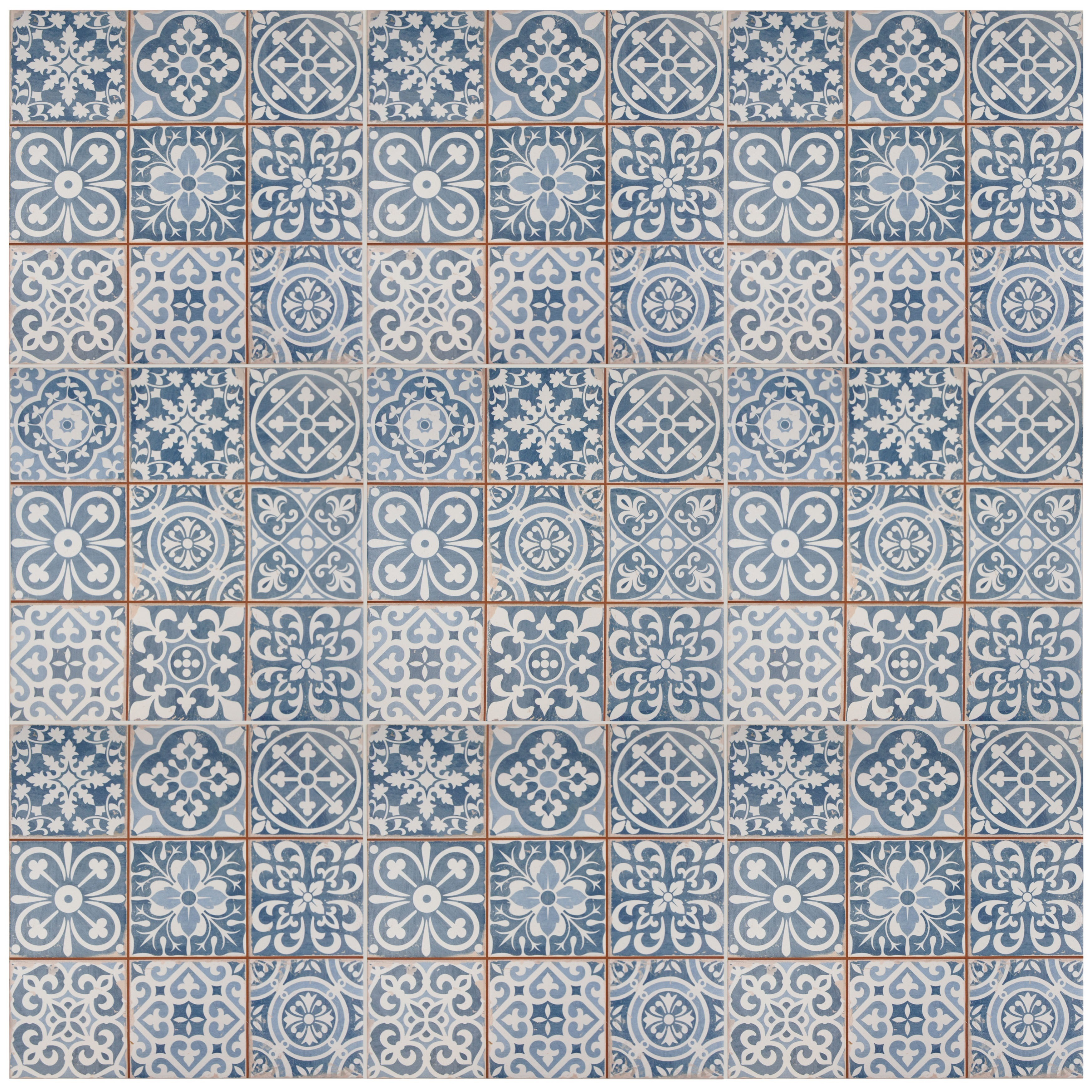 Shop SomerTile 13x13-inch Faventia Azul Ceramic Floor and Wall Tile ...
