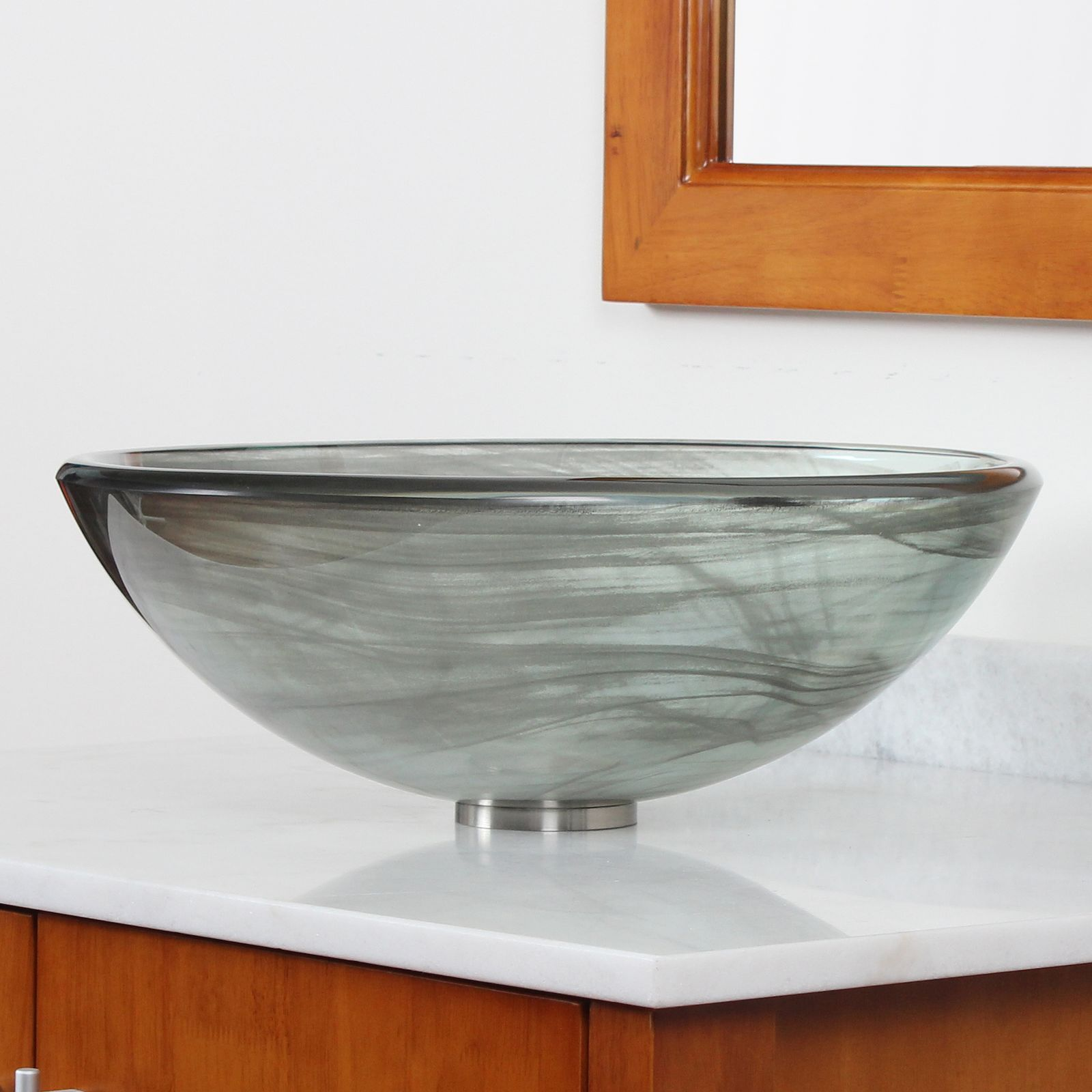 Shop Elite New Tempered Bathroom Black Swirl Glass Vessel Sink With ...