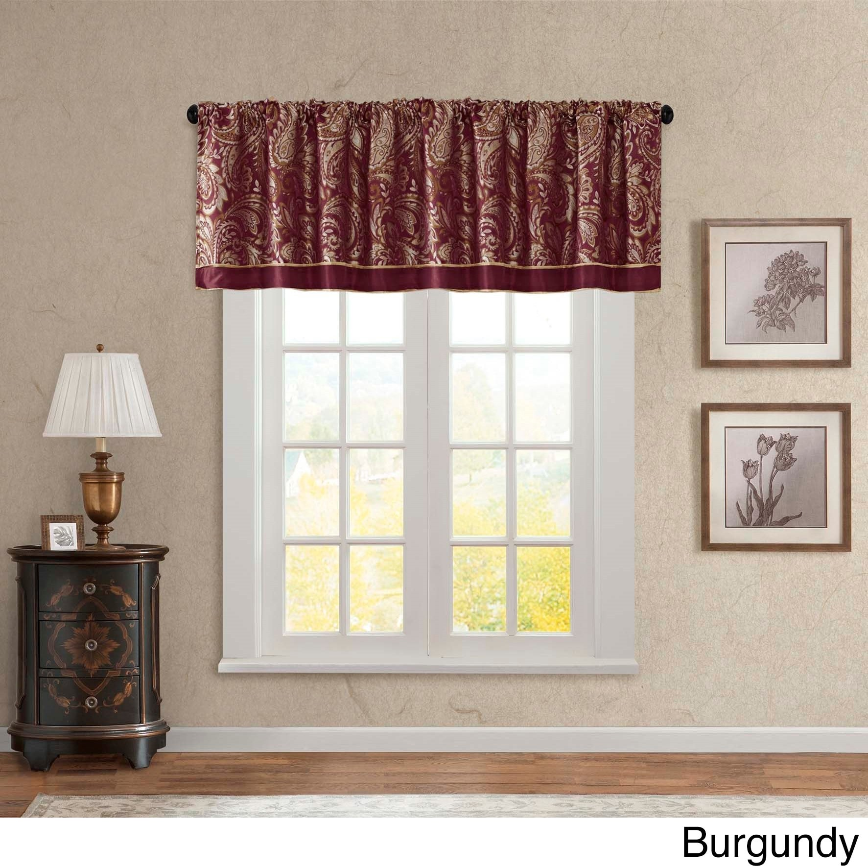 products and macrame valerie straight burgundy swags kitchen valances sheer tiers valance zoom