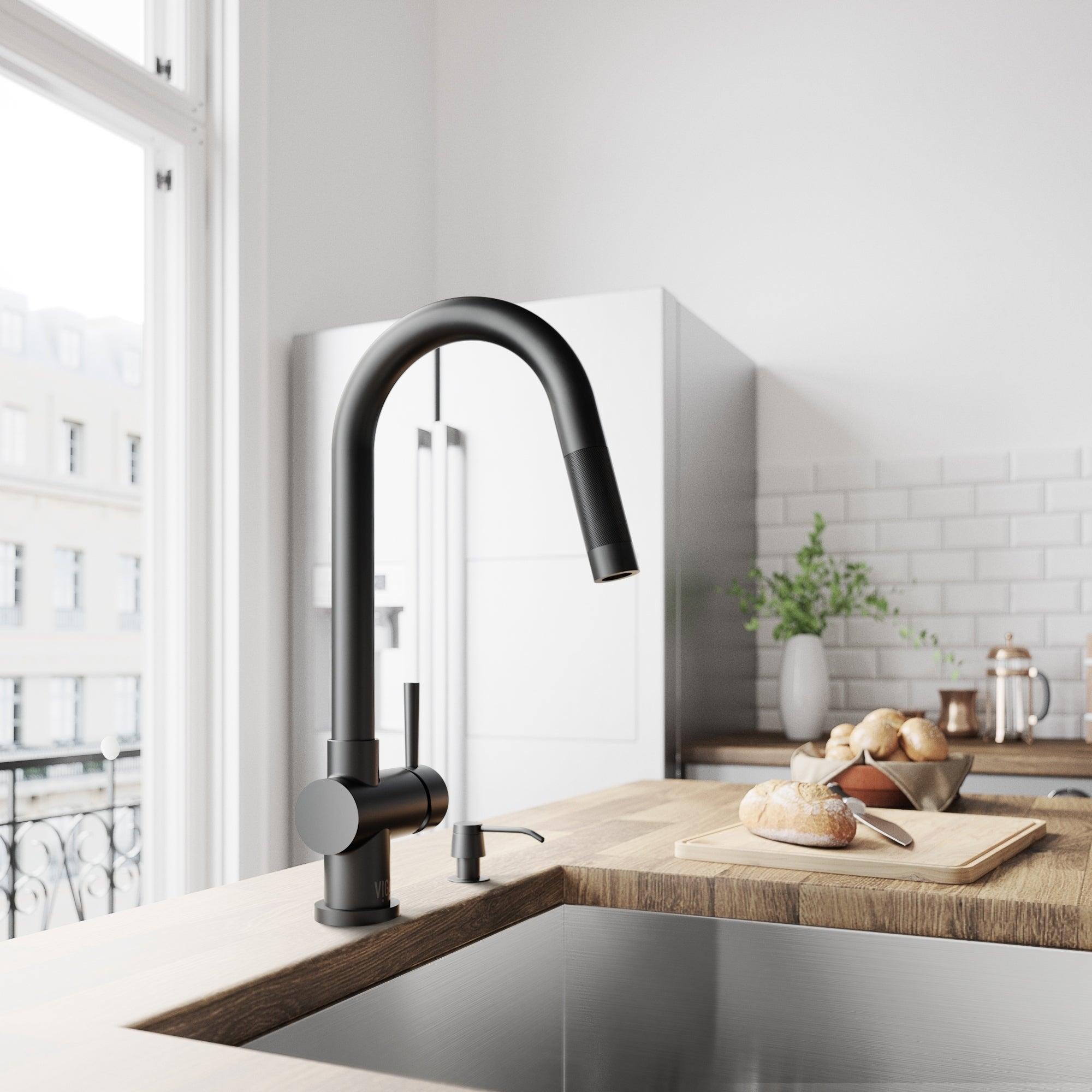 Shop VIGO Gramercy Matte Black Pull Down Kitchen Faucet Sale