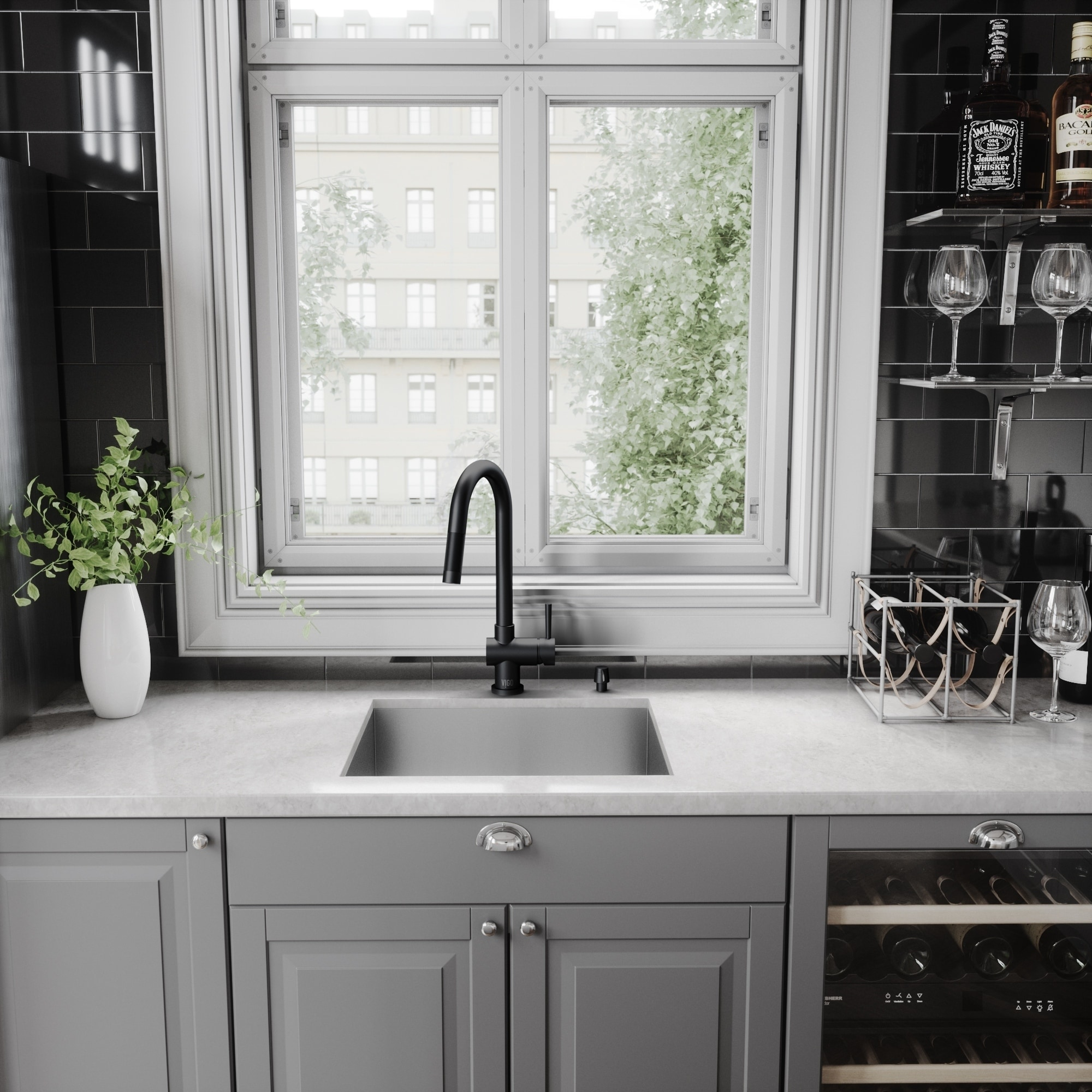 Shop vigo gramercy pull down kitchen faucet in matte black on sale free shipping today overstock com 9753379