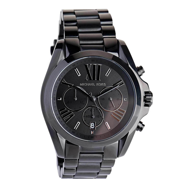 e9b69599eadd Shop Michael Kors Unisex MK5550  Bradshaw  Chronograph Black Stainless  Steel Watch - Free Shipping Today - Overstock - 9753556