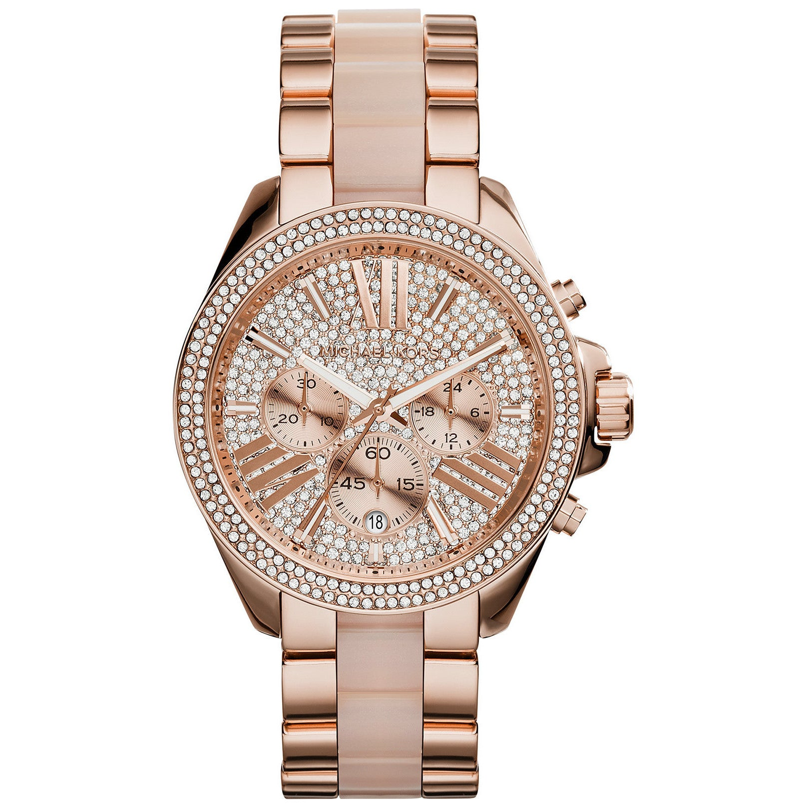 6985d848242af Michael Kors Women s MK6096  Wren  Chronograph Crystal Rose Gold Tone  Stainless Steel Watch - Pink