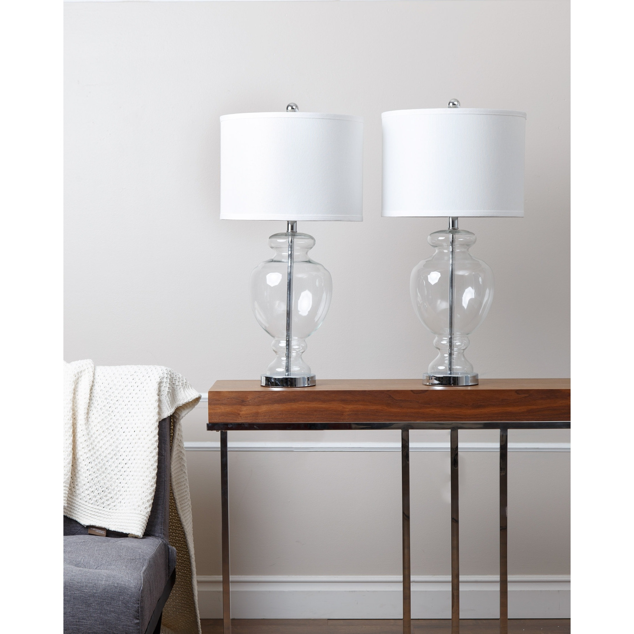 Shop Abbyson Burnham Clear Glass Table Lamp (Set of 2) - On Sale ...