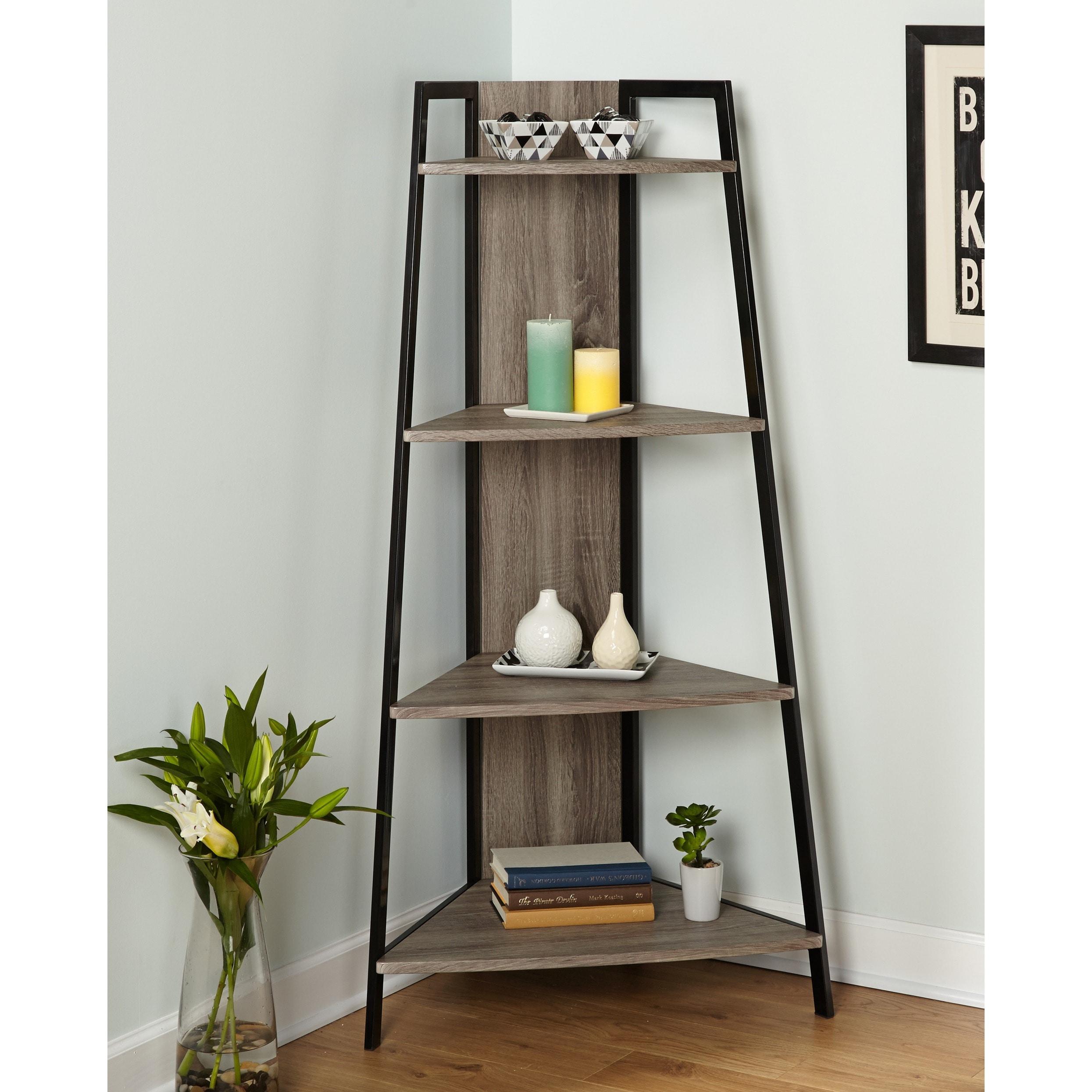 Simple Living Seneca Black Grey Metal Corner Shelf Free Shipping Today 9753729
