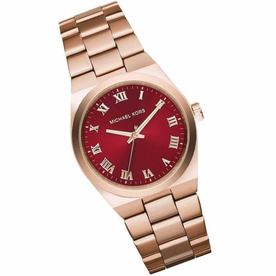0e2ebcbdecca Shop Michael Kors Women s MK6090  Channing  Red Dial Rose Gold Tone  Stainless Steel Watch - Free Shipping Today - Overstock - 9754571