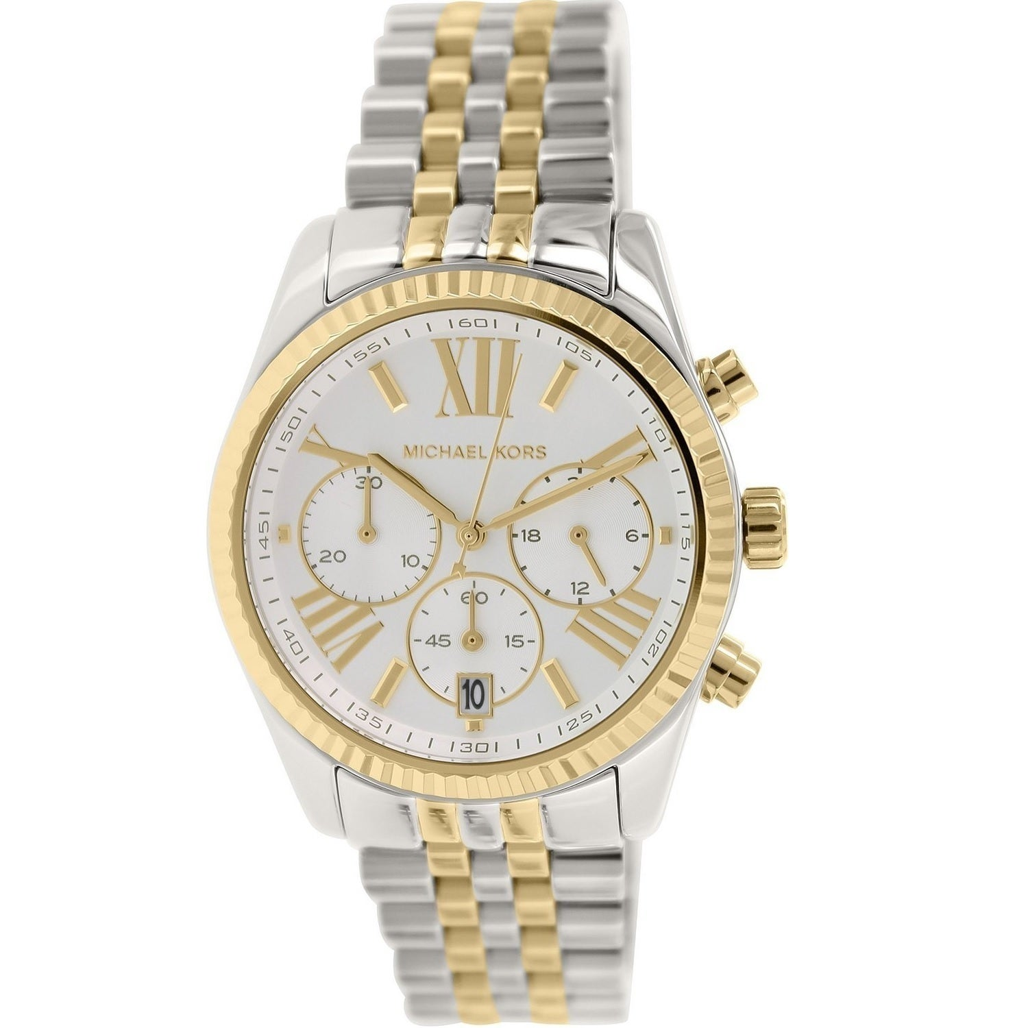 1fb075d729dc Shop Michael Kors Women s  Lexington  Chronograph Two Tone Stainless Steel  Watch - Free Shipping Today - Overstock - 9755911