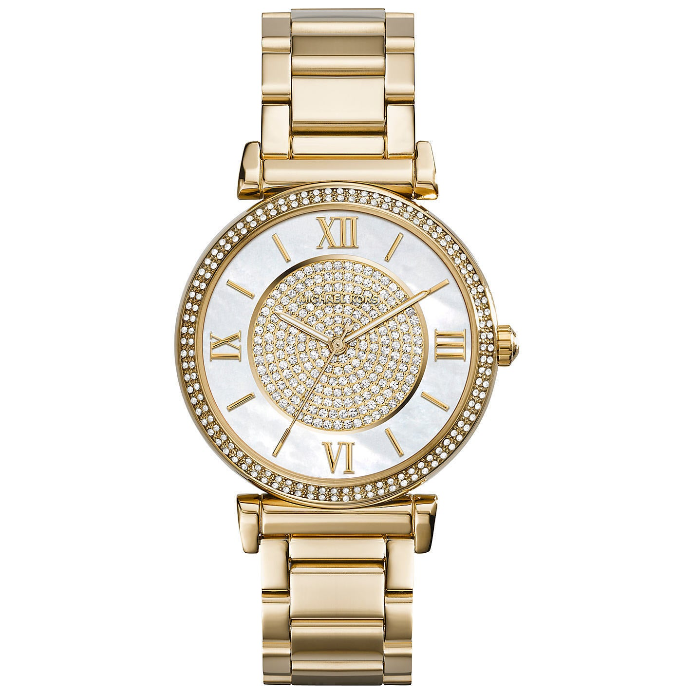 d7bf6423dc65 Michael Kors Women s MK3332  Catlin  Crystal-set Mother of Pearl Dial Gold-plated  Watch