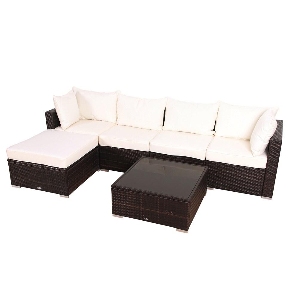Shop BroyerK 6 Piece Outdoor Rattan Patio Furniture Set   Free Shipping  Today   Overstock.com   9756066