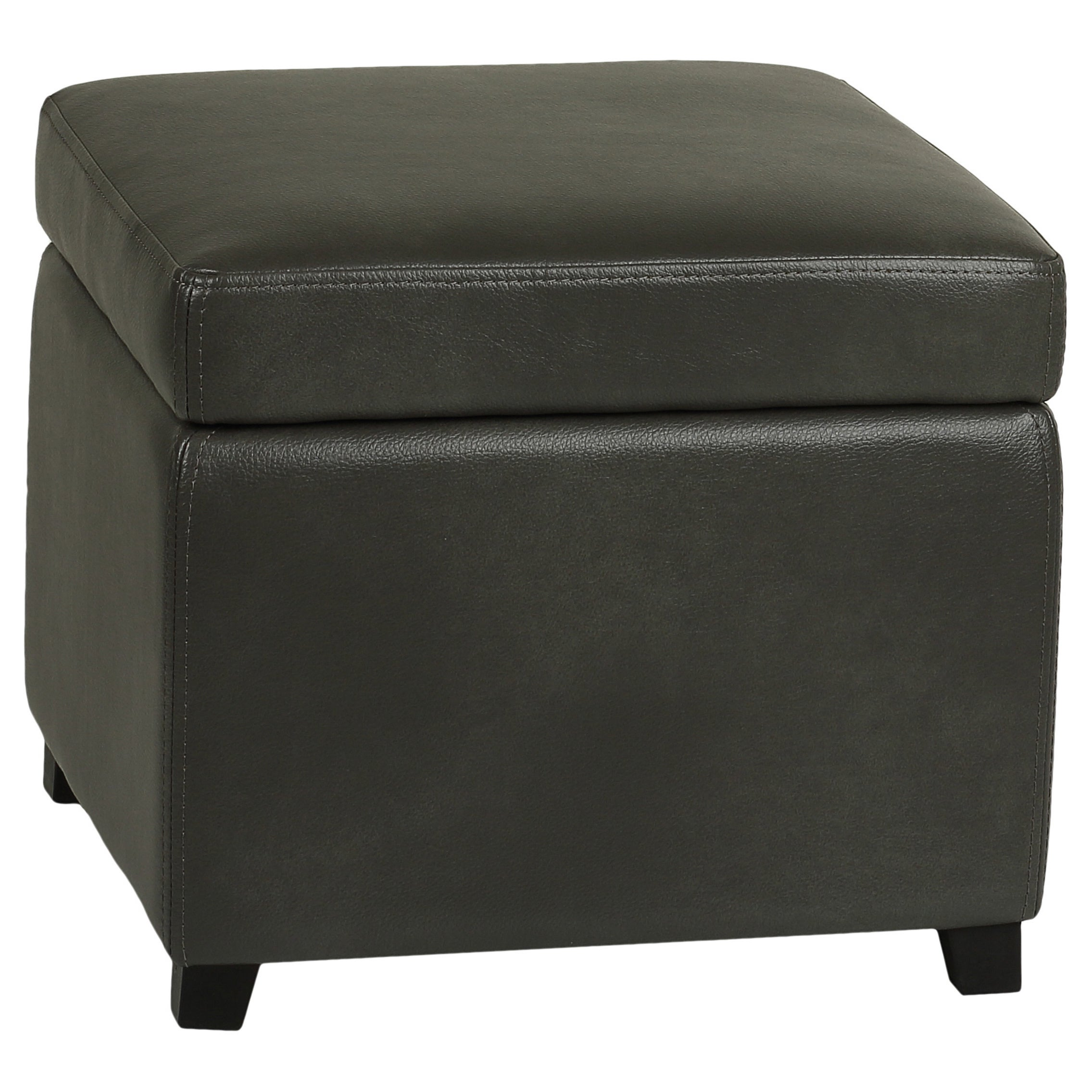 Cortesi Home Mimo Grey Bonded Leather Storage Ottoman With Hinged Top Free Shipping Today 9756077