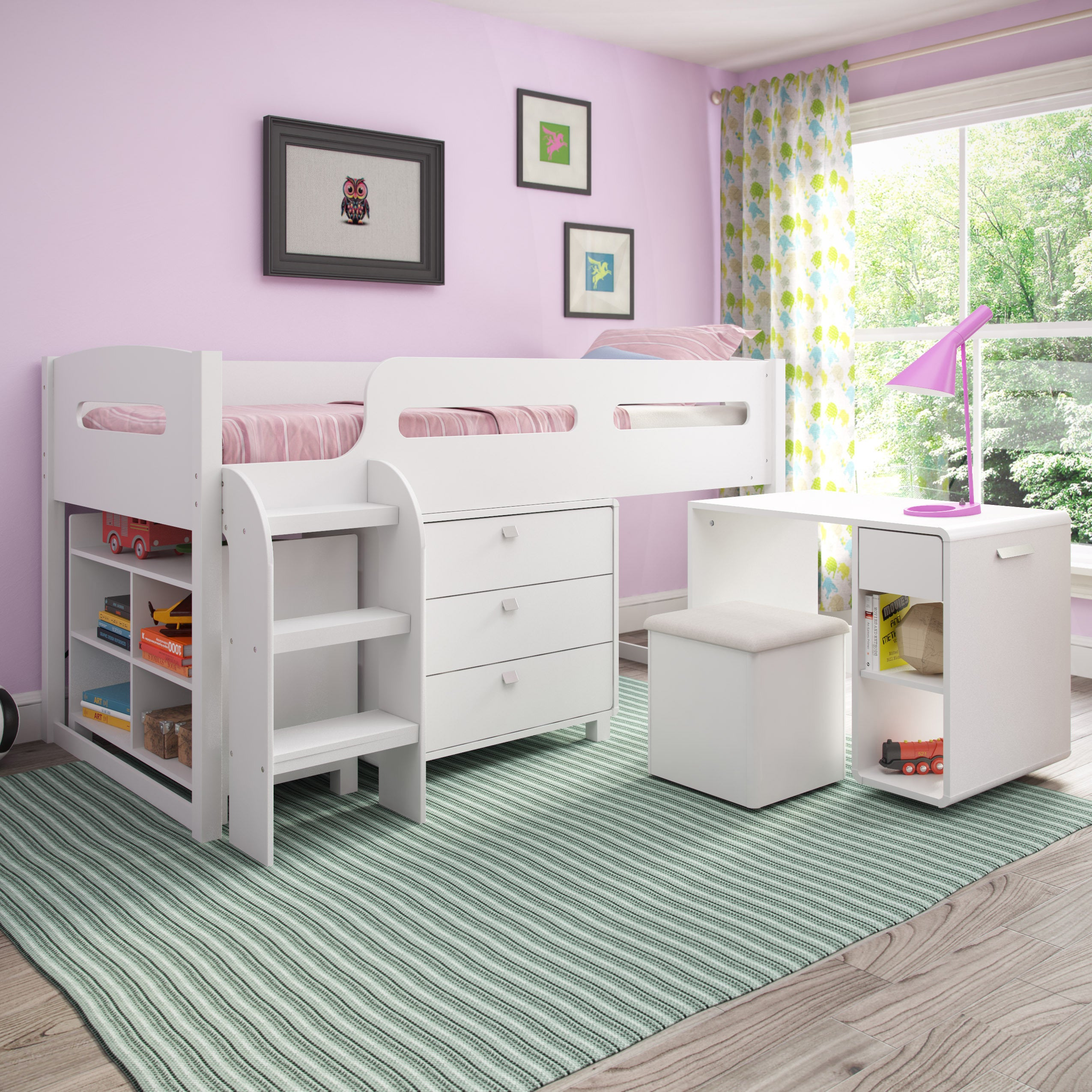 CorLiving Madison 5 piece All in e Twin Loft Bed Free Shipping