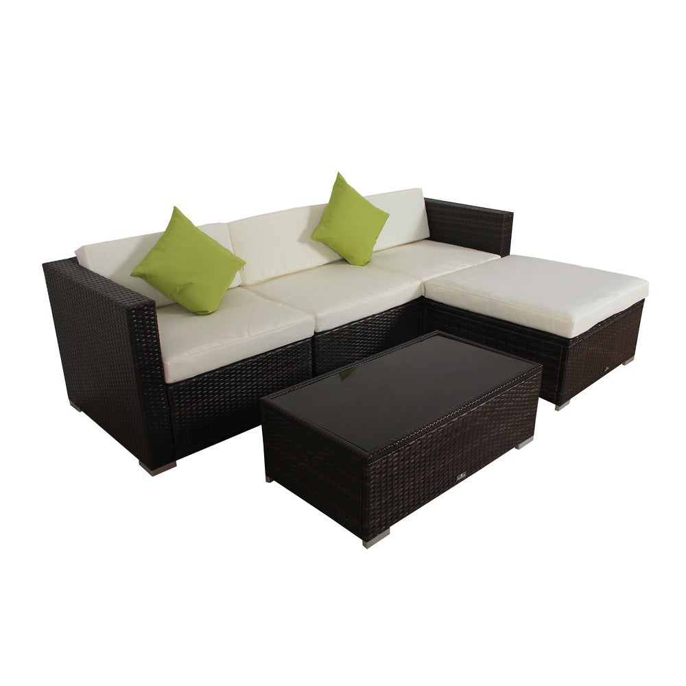 Shop broyerk 5 piece rattan outdoor patio furniture set on sale free shipping today overstock 9756372