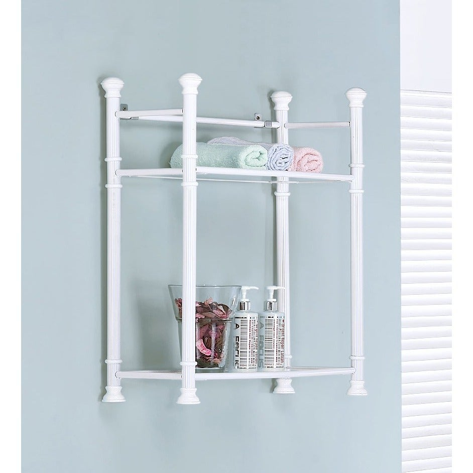 26-inch White Metal Tempered Glass Wall Mount Shelf - Free Shipping ...