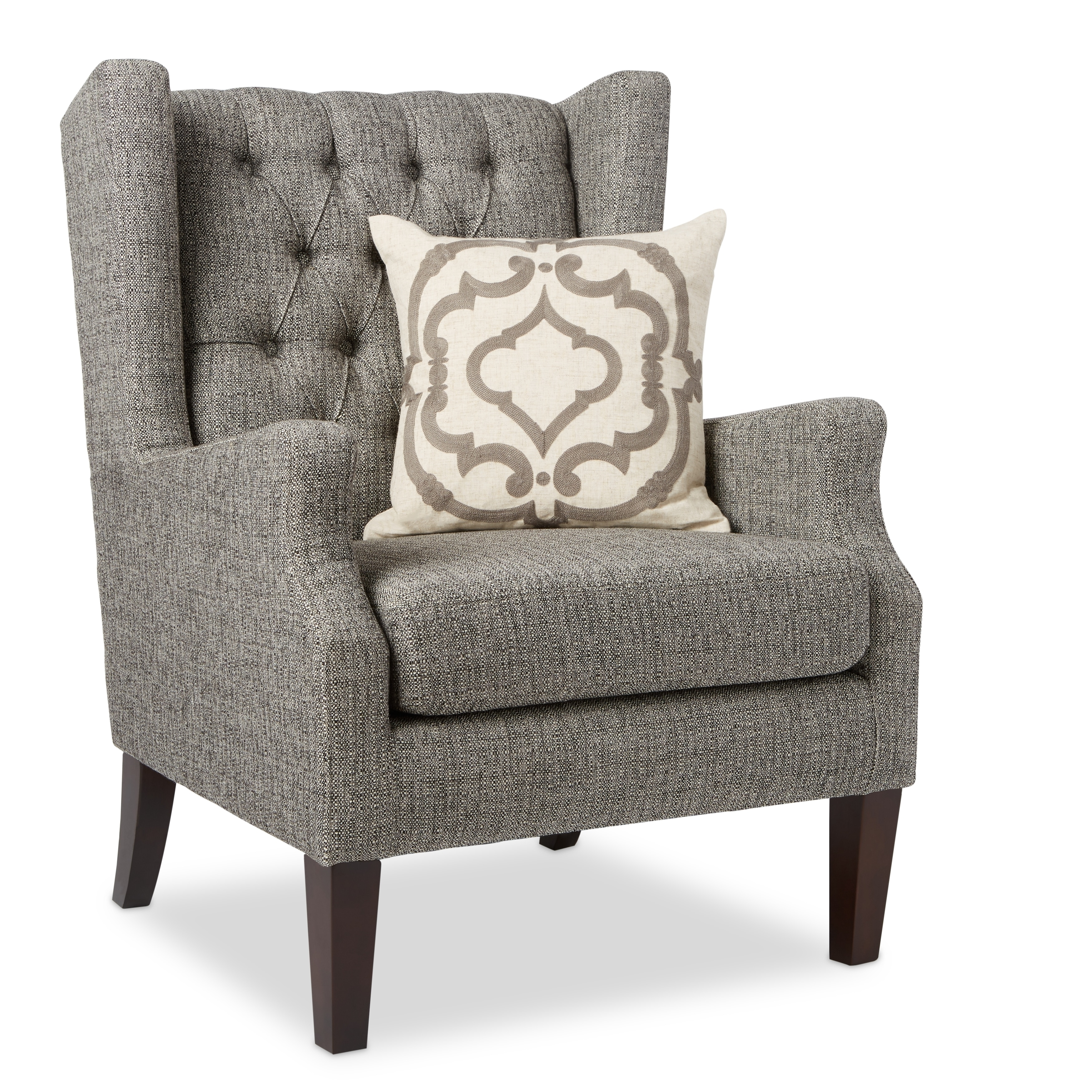 Bon Shop Stones U0026 Stripes Maxwell Grey Tufted Wingback Chair   Free Shipping  Today   Overstock.com   9759057