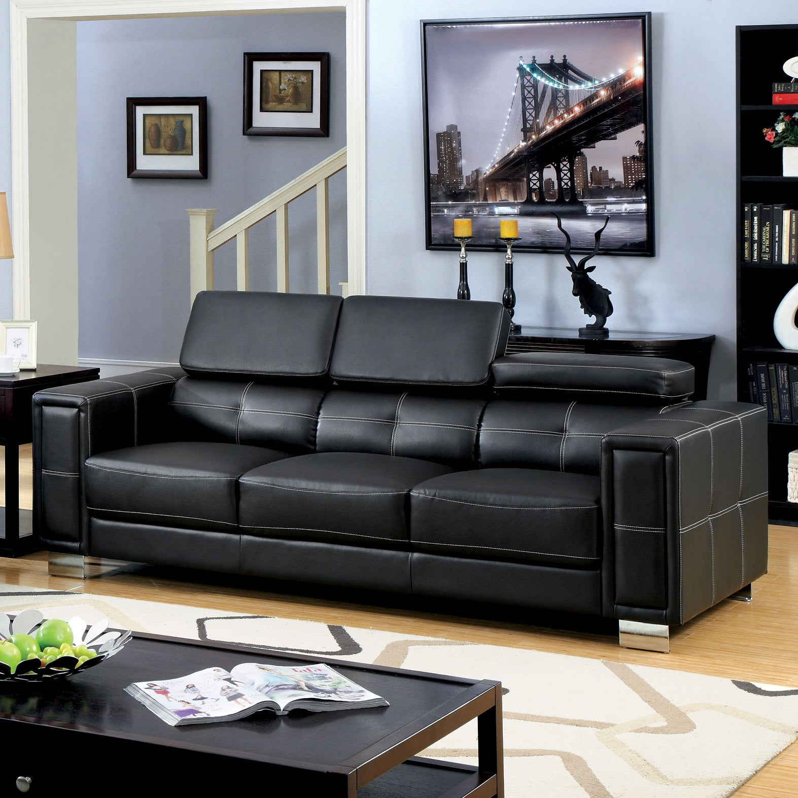 Shop furniture of america gregour black bonded leather gas lift headrest sofa free shipping today overstock com 9759385