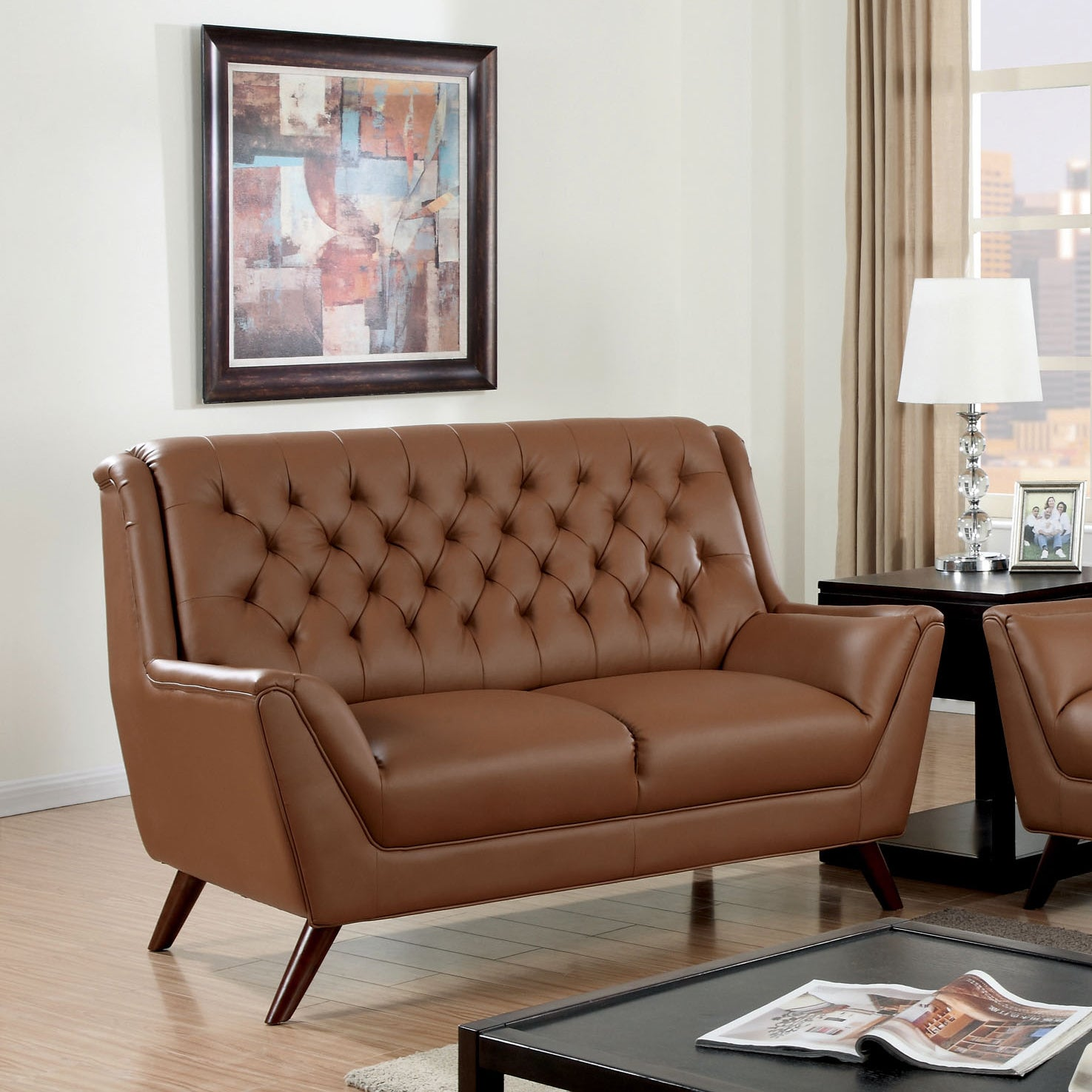Furniture of america valentino mid century modern bonded leather loveseat