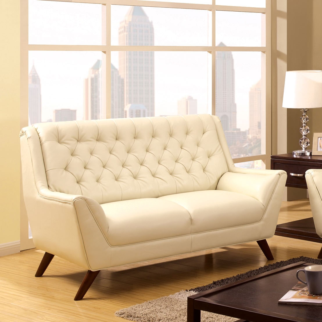 Shop Furniture Of America Valentino Mid Century Modern Bonded Leather  Loveseat   On Sale   Free Shipping Today   Overstock.com   9759522