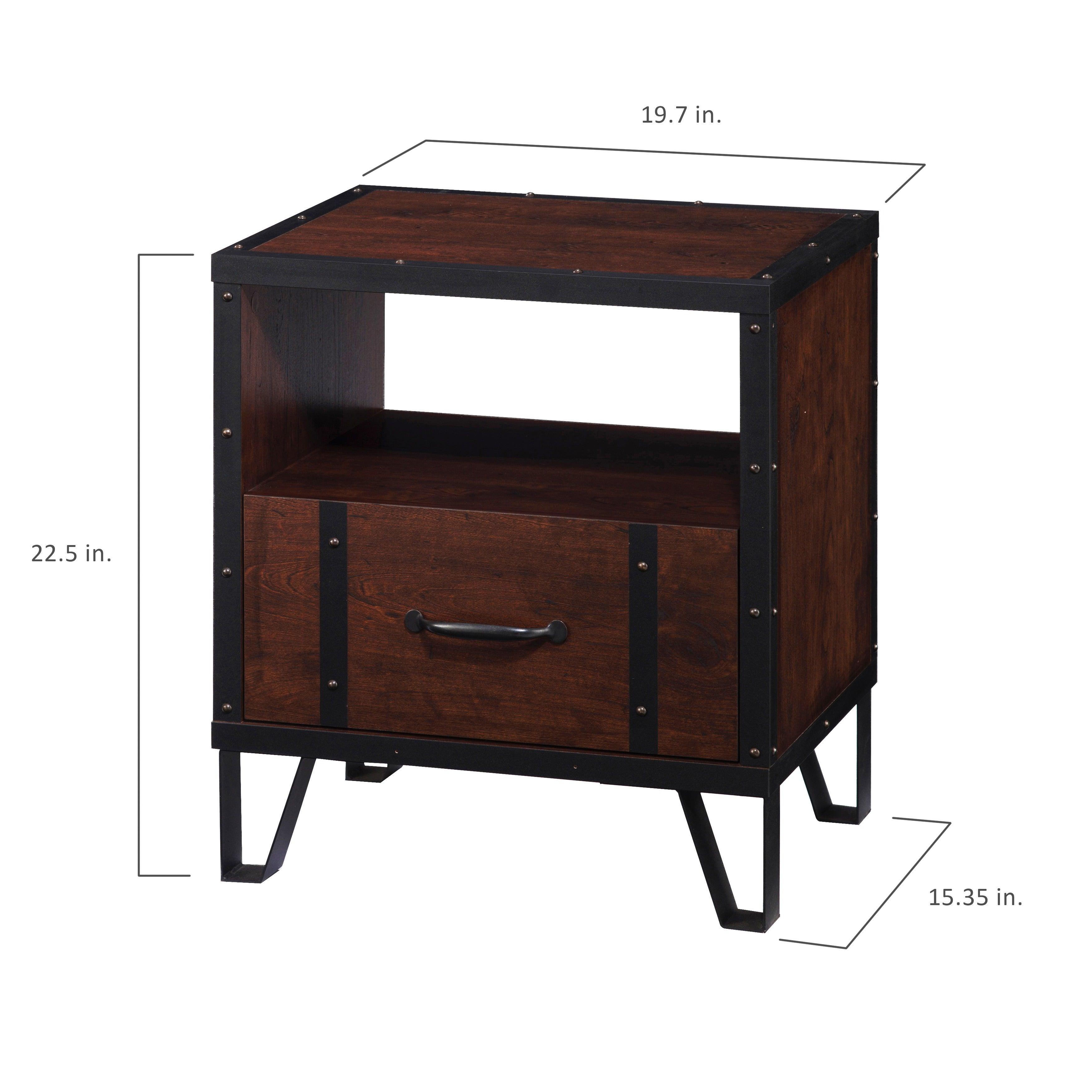 Carbon Loft Flinders Vintage Walnut Industrial End Table