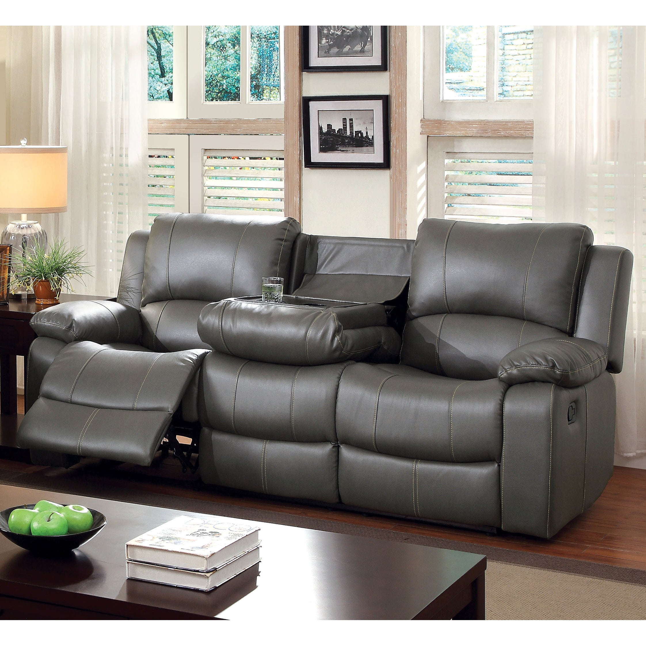 Shop Furniture Of America Rembren Grey Faux Leather Reclining Sofa