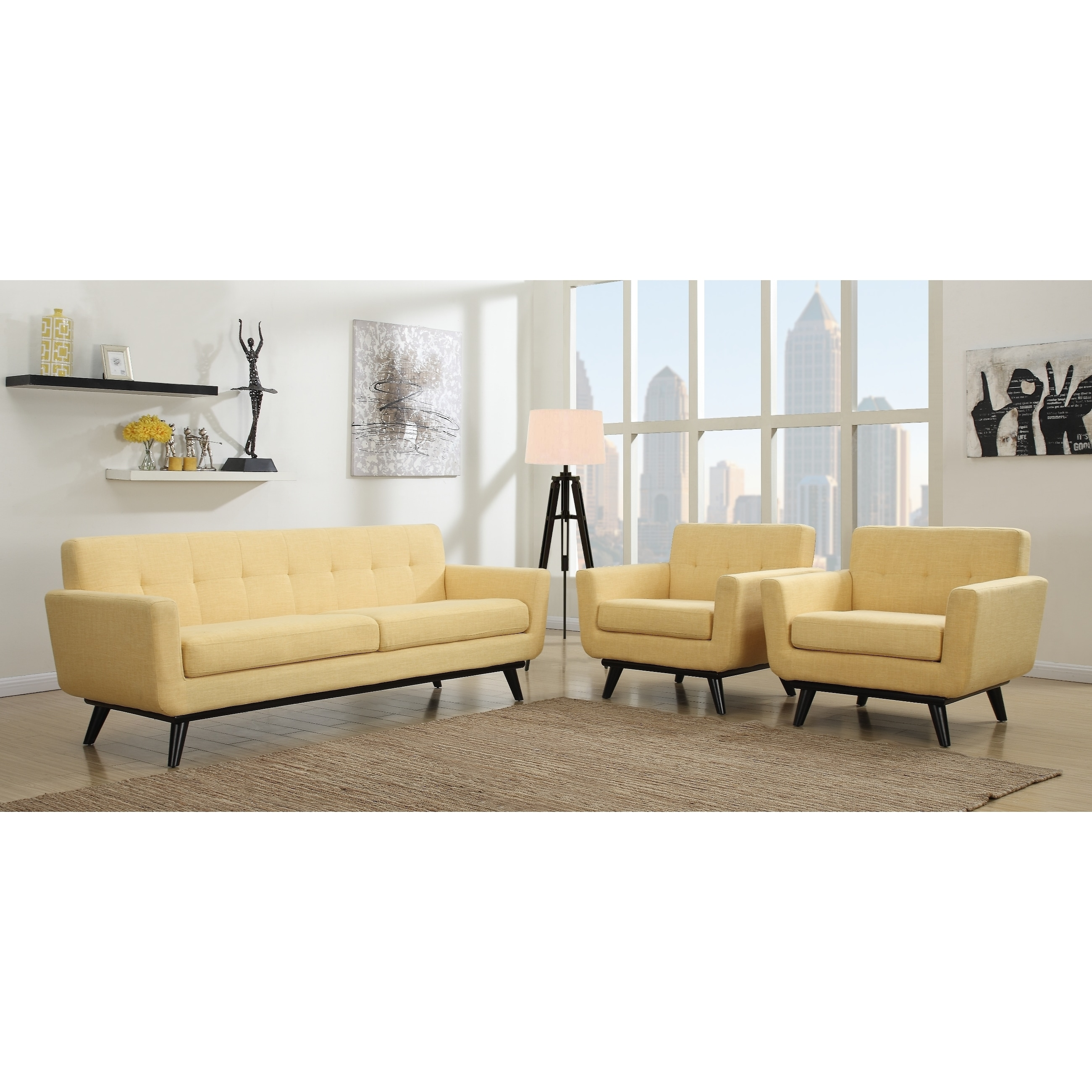 Shop James Mustard Yellow Living Room Set - Free Shipping Today ...