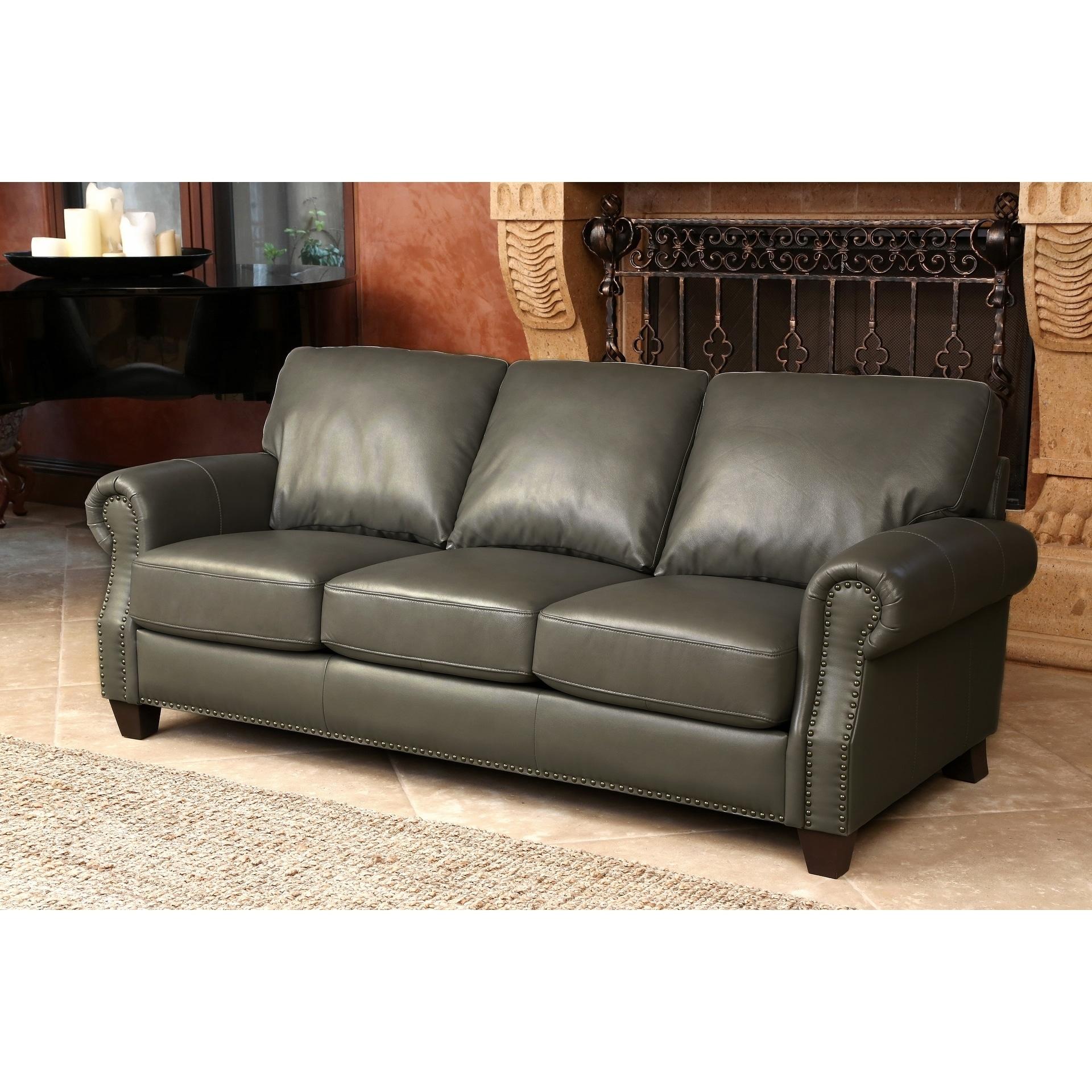 Abbyson Landon Top Grain Leather Sofa Free Shipping Today  ~ Full Top Grain Leather Sofa