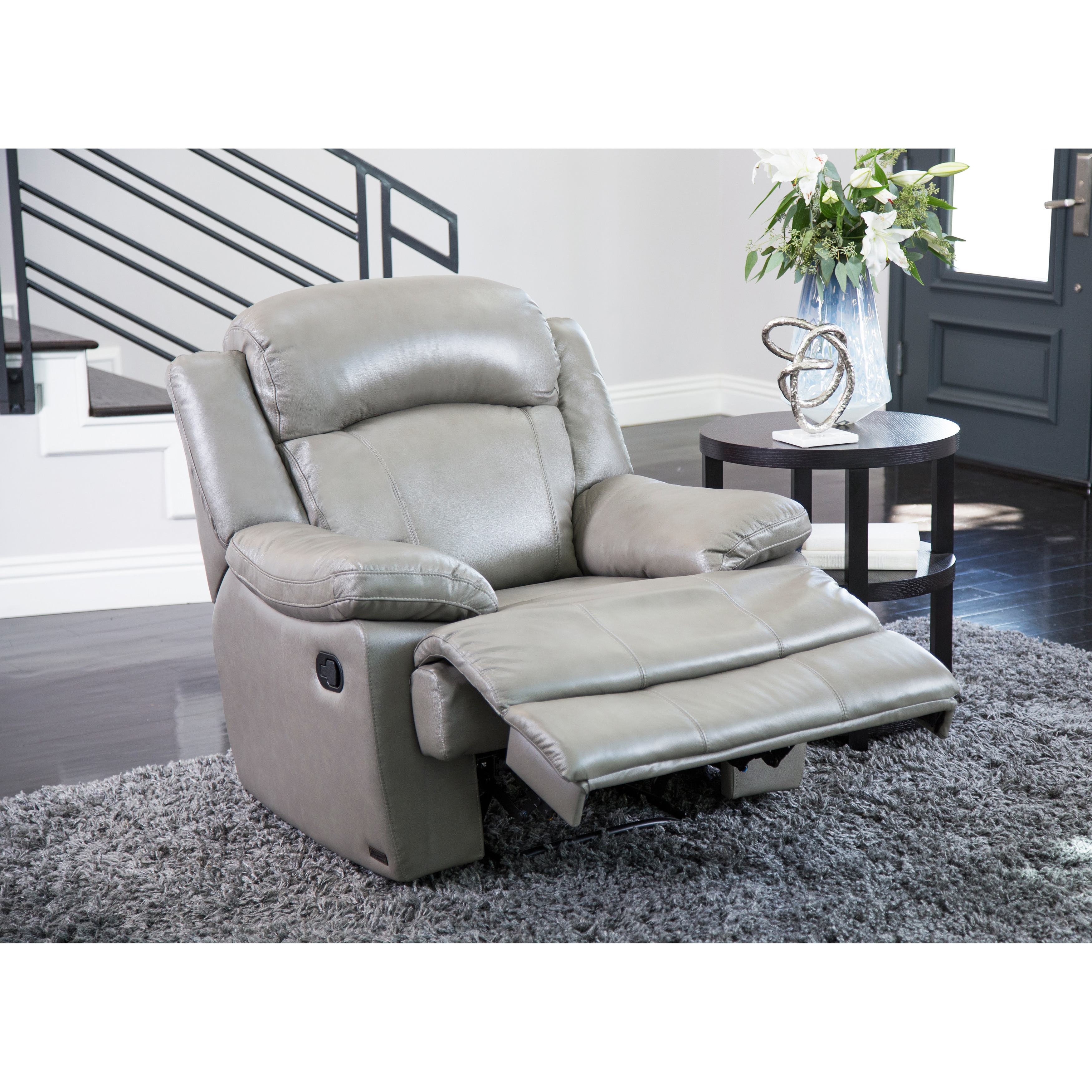 Shop Abbyson Clarence Top Grain Leather Recliner