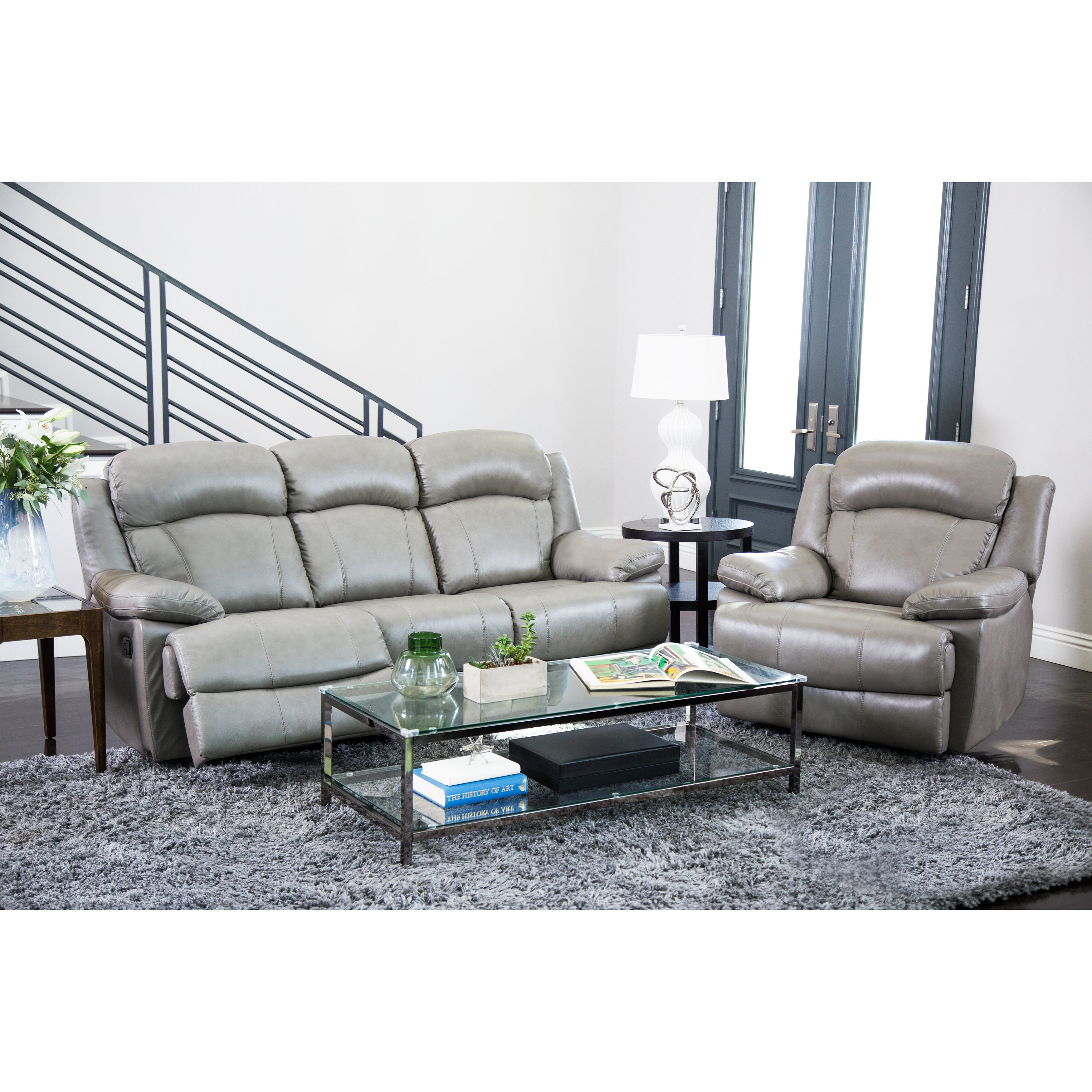 Shop Abbyson Clarence Top Grain Leather Reclining 2 Piece Living ...