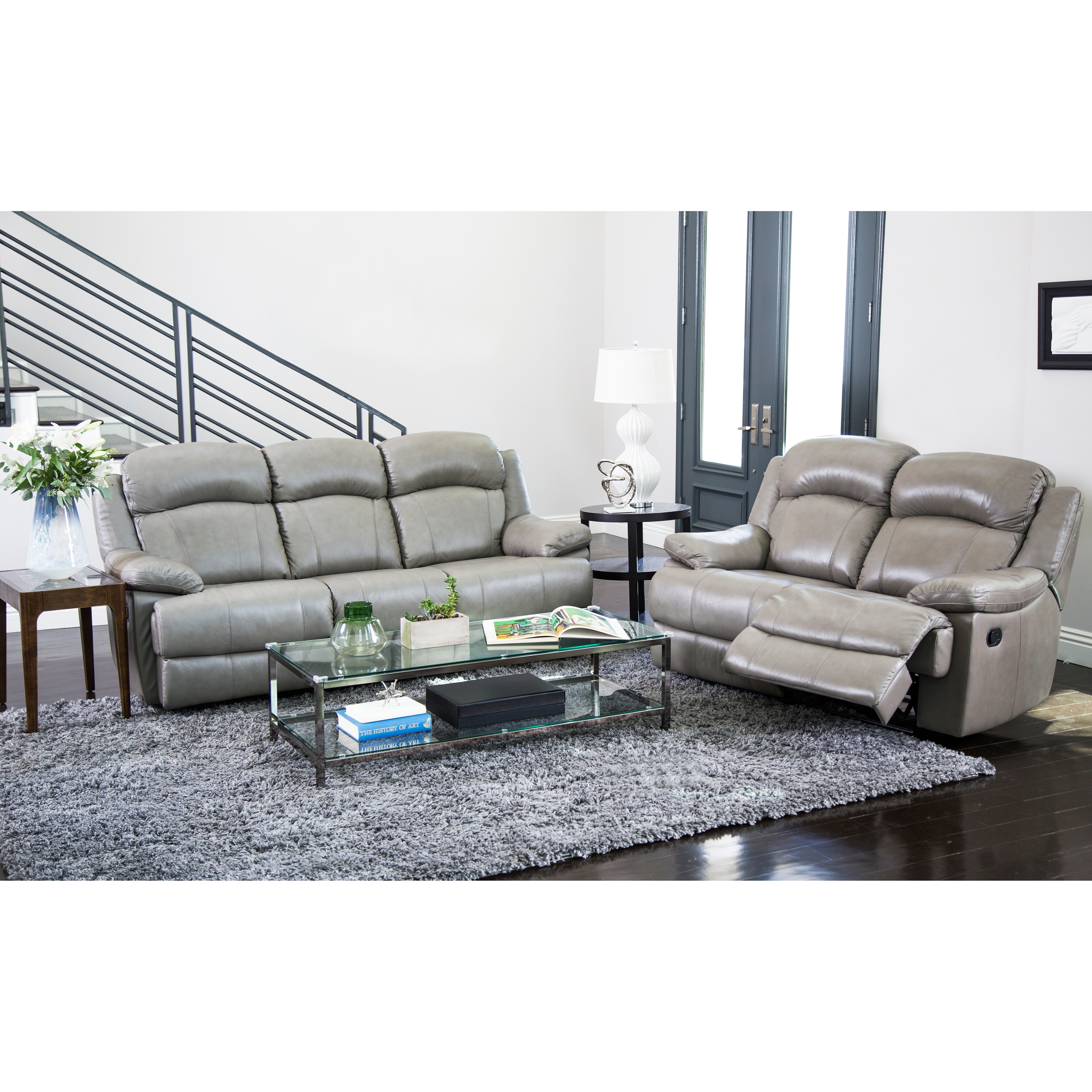 Abbyson Clarence Top Grain Leather Reclining 2 Piece Living Room Set Free Shipping Today 16933839